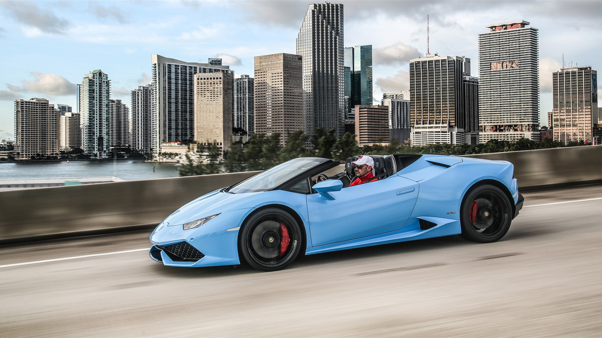 Wallpaper Lamborghini Huracan LP 610-4 blue supercar side ...