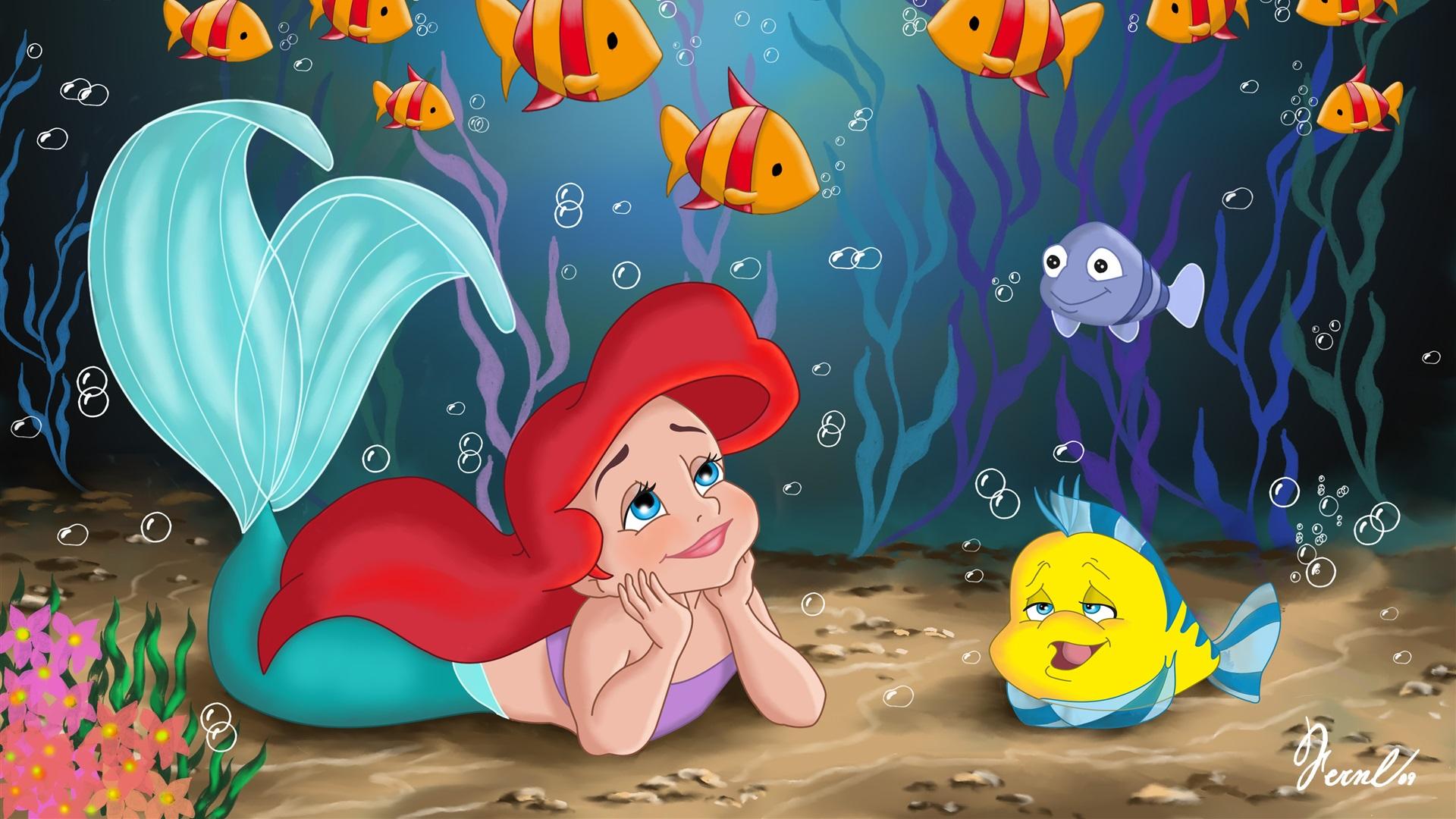 壁紙 リトルマーメイドと黄色の魚 ディズニーのアニメ映画 3840x2160
