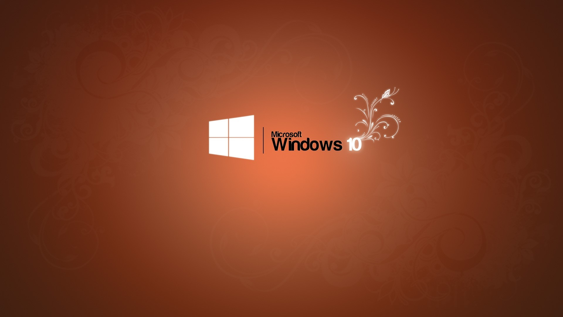 Wallpaper Microsoft Windows 10 Logo Orange Background 1920x1080