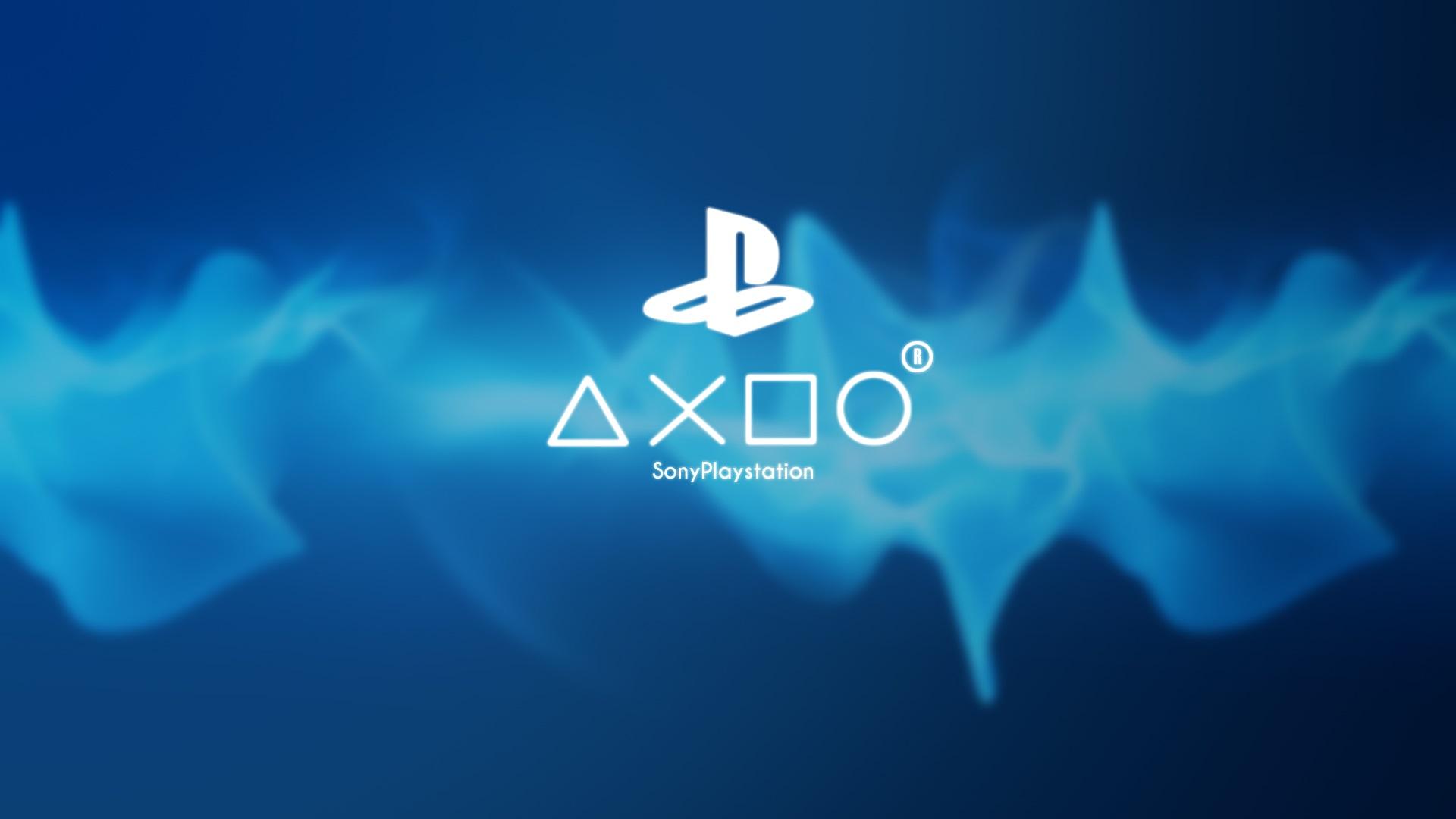 壁紙 ソニーのプレイステーションのゲームのロゴ、青の背景
