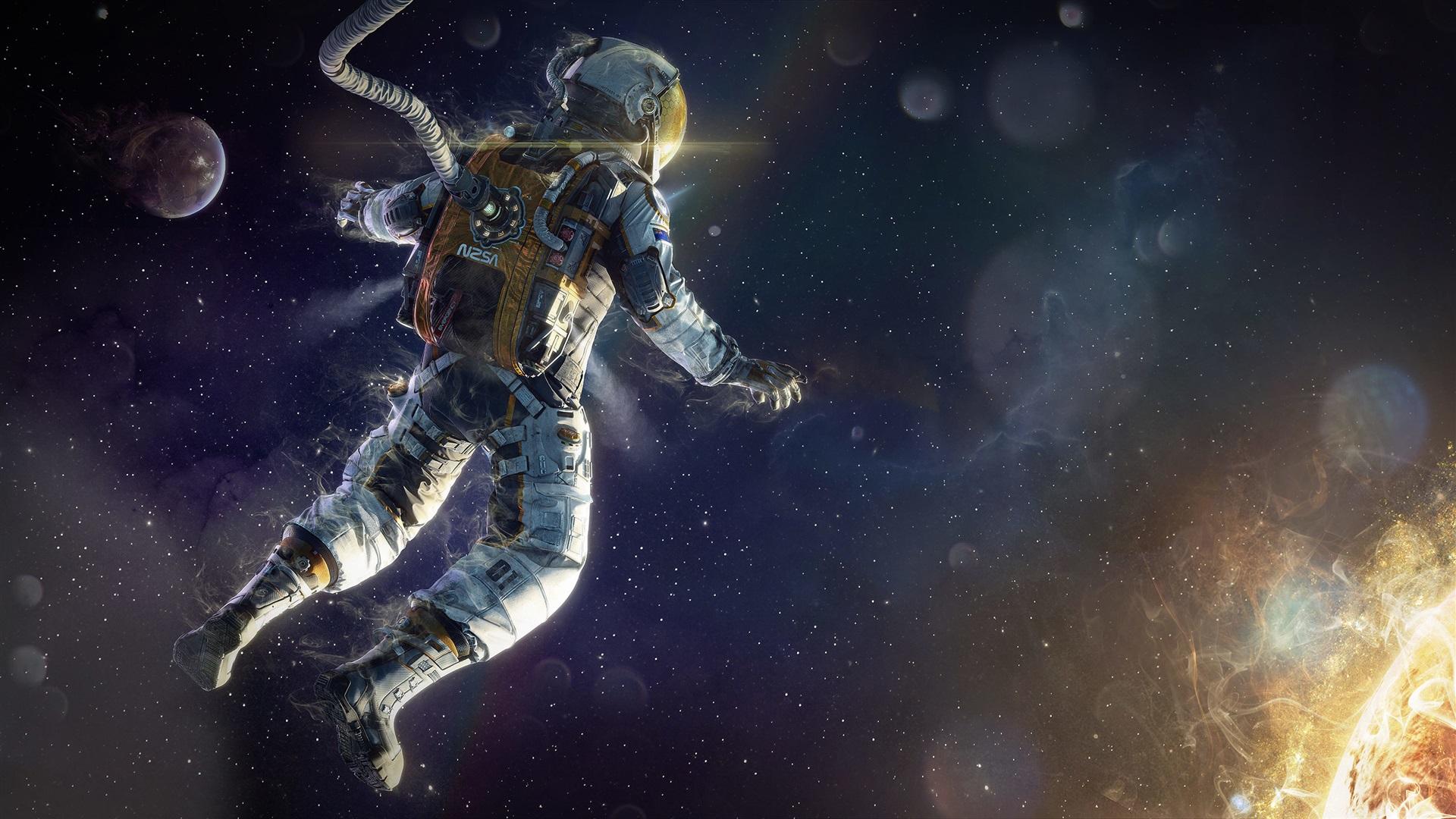 Astronauta Flotando En El Espacio Exterior: Astronauta Flotando En El Espacio, Planetas, Estrellas