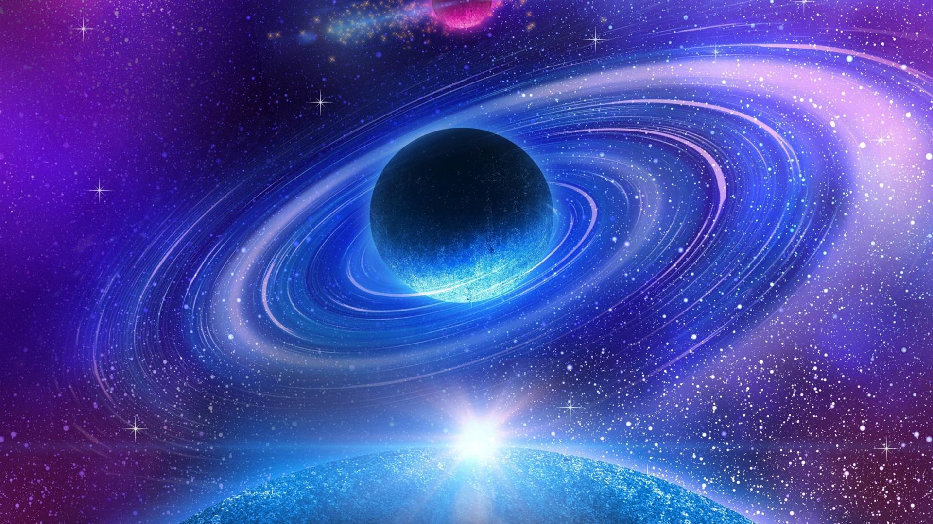 Wallpaper Beautiful space, galaxy, nebula, planet, stars ...
