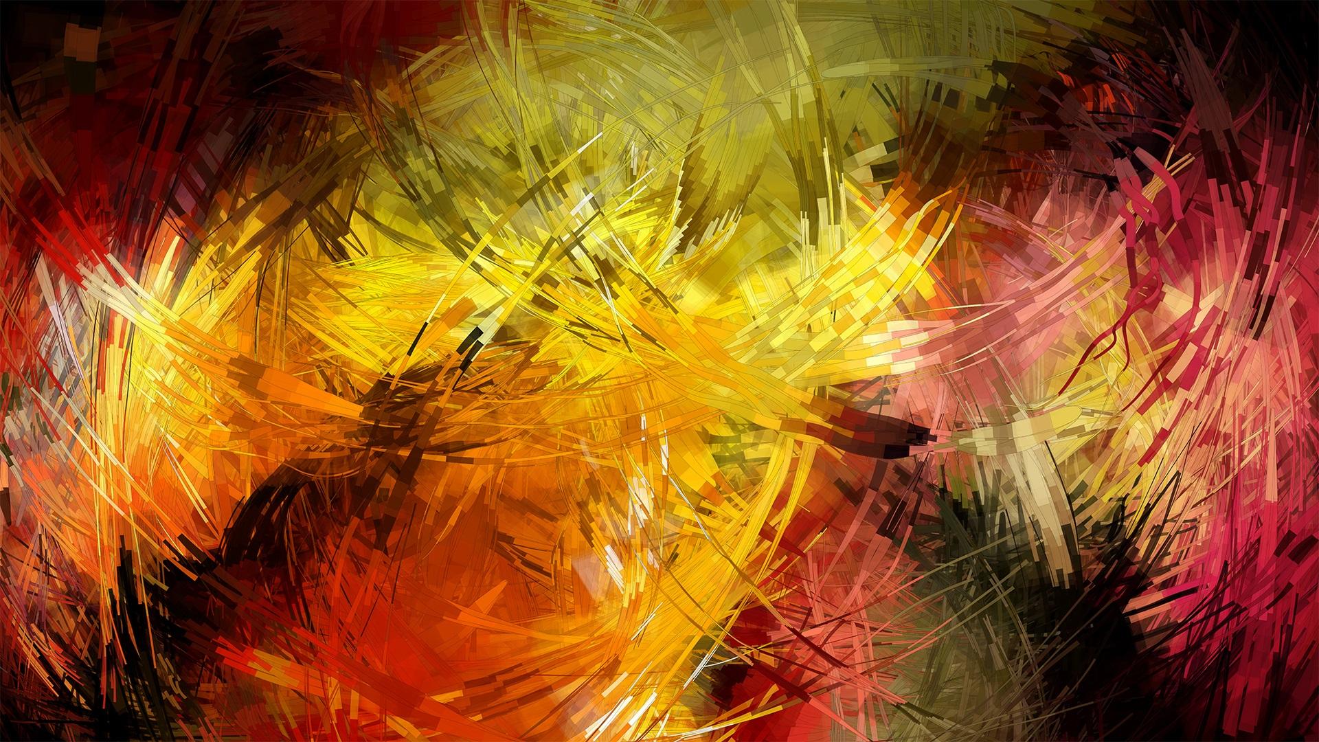 1920x1080 Abstracto Full Hd 1920x1080: Líneas De Colores, Trazos, Cuadros Abstractos Fondos De