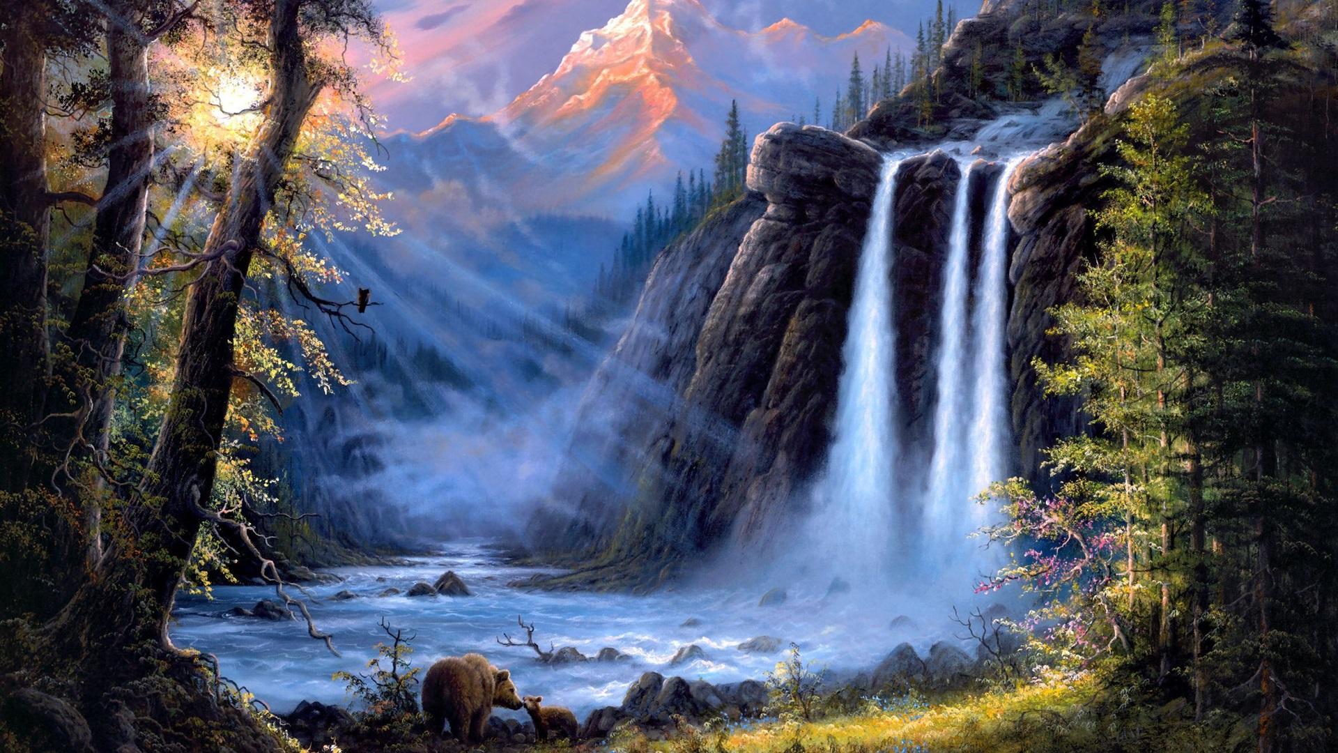 壁紙 ジェシーバーンズアートの絵画、風景、滝、木、クマ 1920x1440 HD 無料のデスクトップの背景, 画像