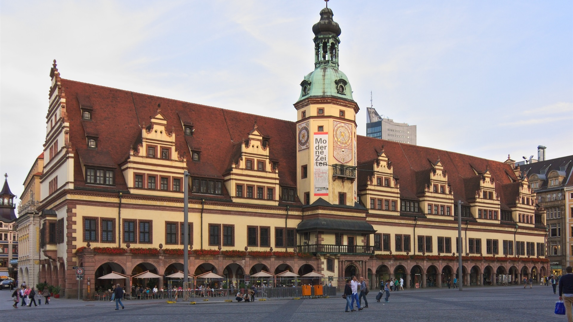 Wallpaper Leipzig Altes Rathaus Building People Street Germany 1920x1440 Hd Picture Image