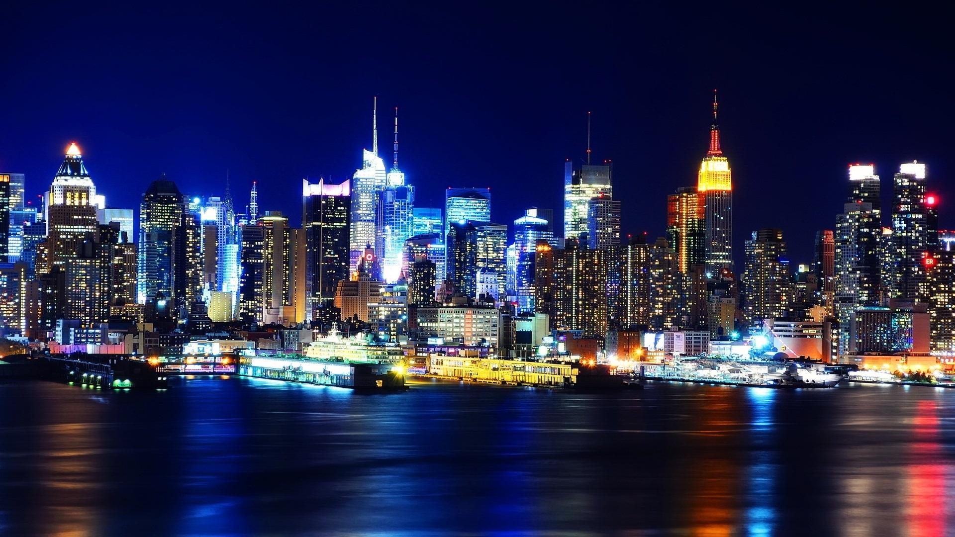 Fonds Décran Belle Ville De New York La Nuit Manhattan