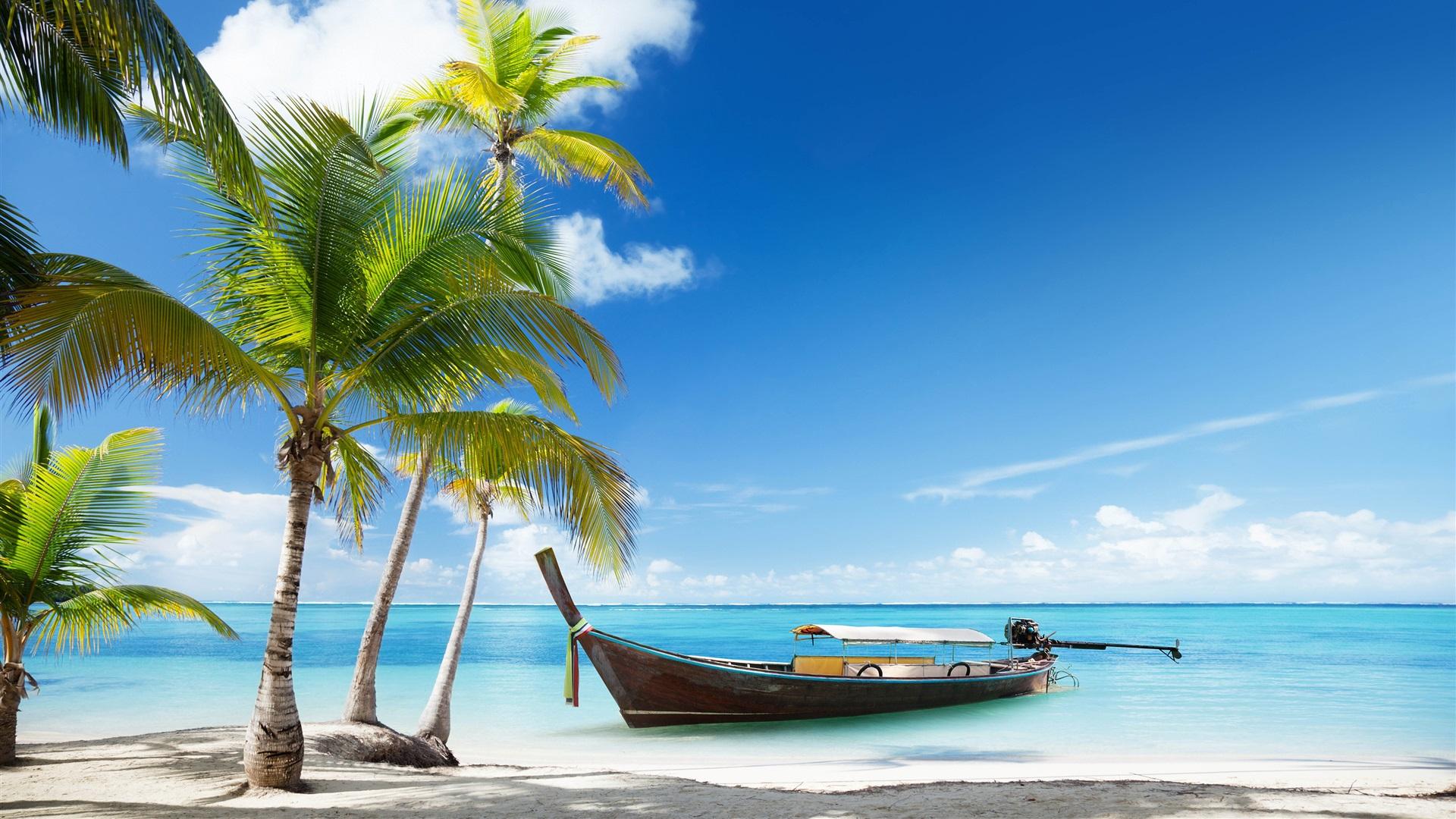 Wallpaper Caribbean Sea Beach Sunset Palm Trees Hd 5k: Fonds D'écran Thaïlande, Plage, Palmiers, Mer, Bateau