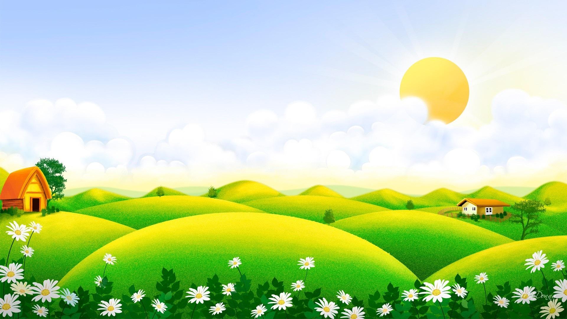 Flores Hermosas Flores Silvestres Fondos De Pantalla Gratis: Fondos De Pantalla Hermoso Paisaje De Arte, Verdes Colinas