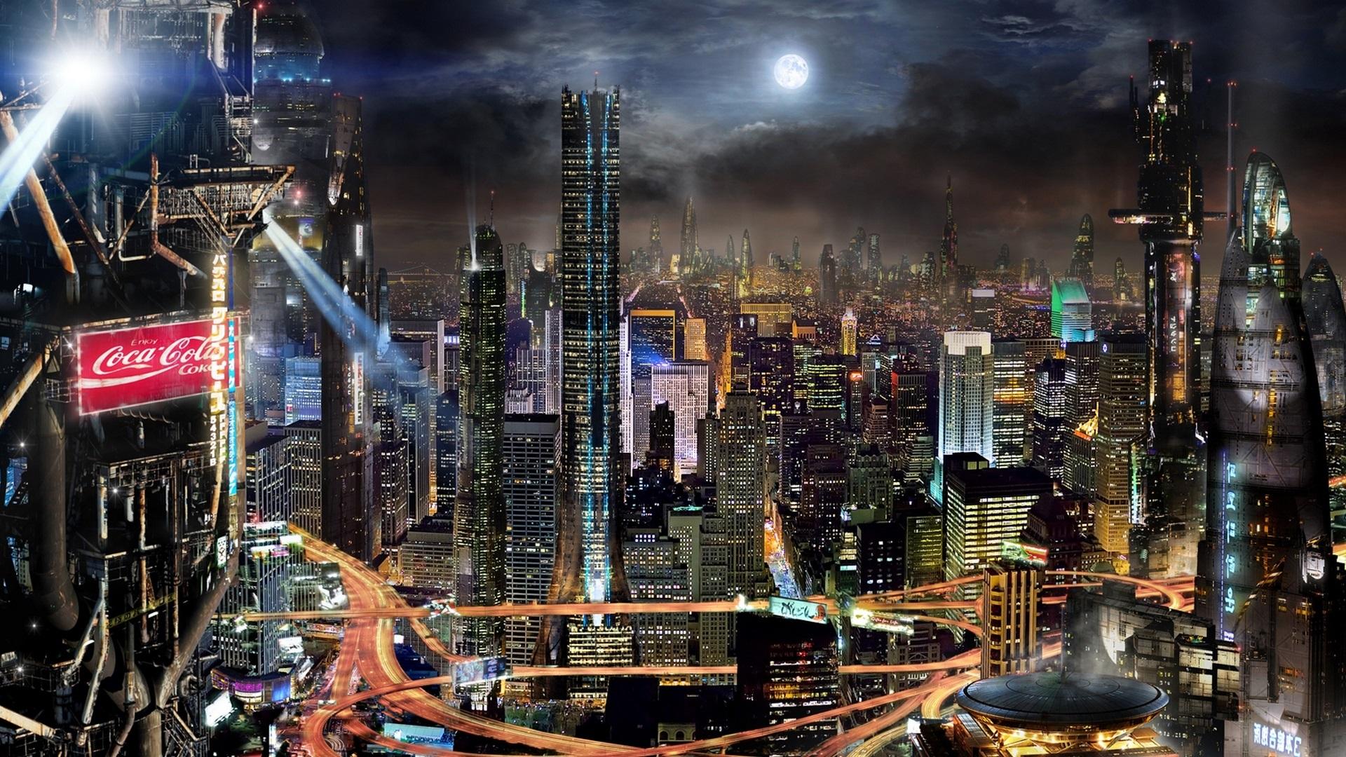Download Wallpaper 1920x1080 Future city, skyscrapers ...