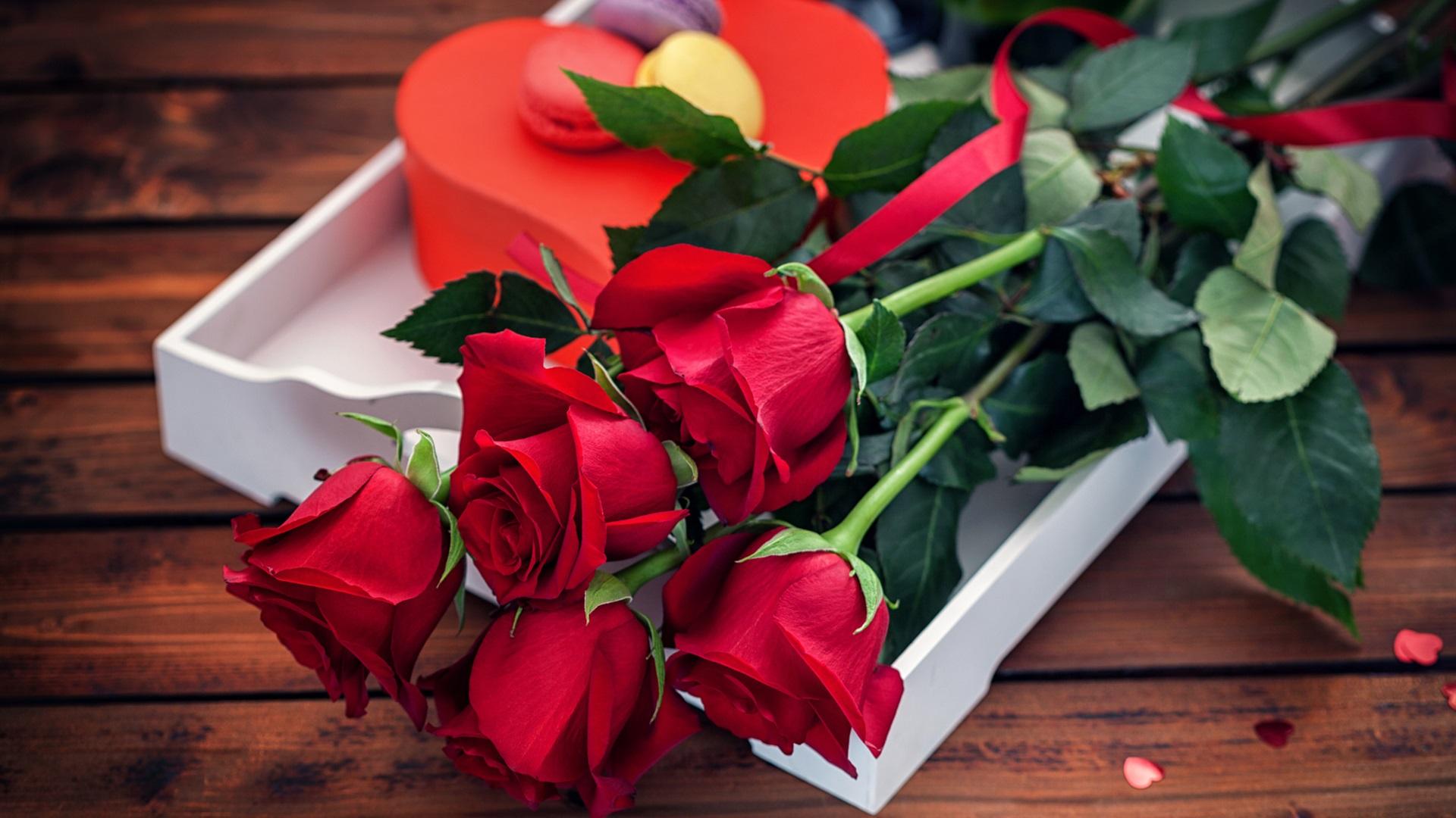 Flores rosa roja ramo regalo rom ntico fondos de for Bouquet de fleurs hd