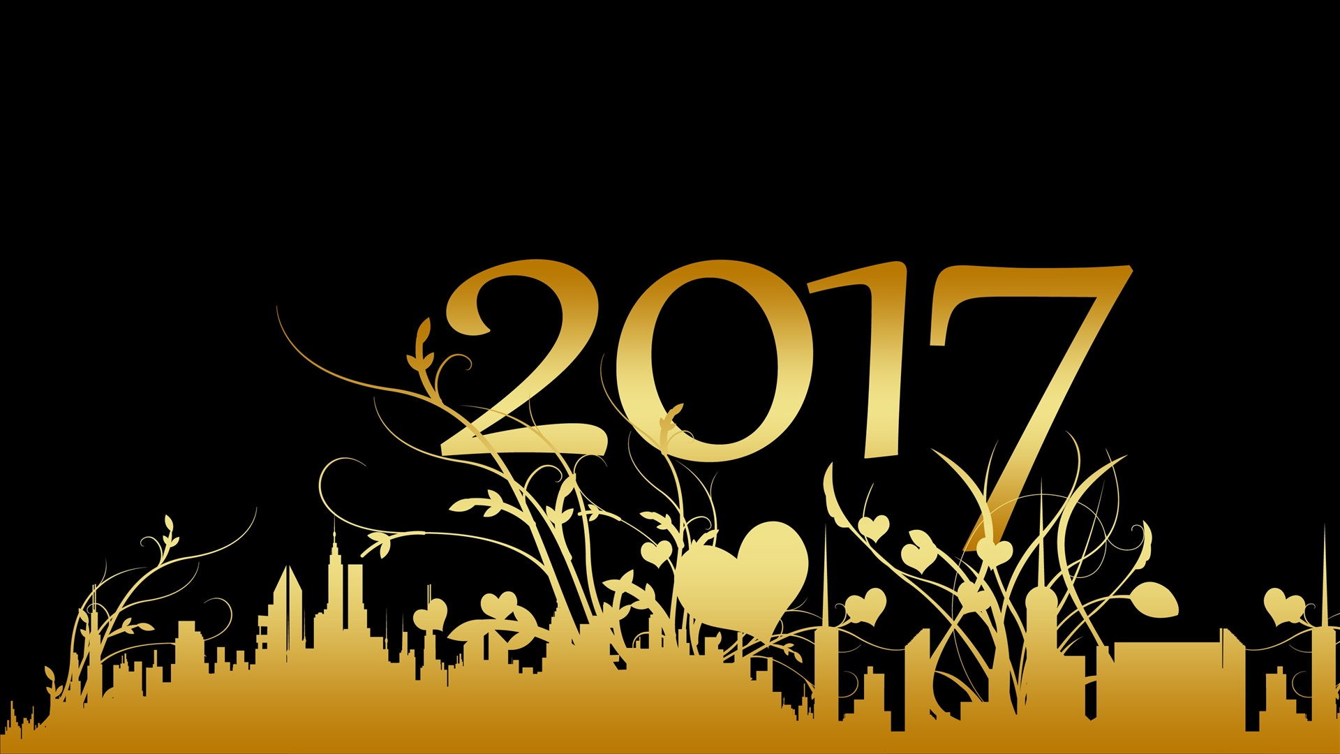 2017 feliz a 241 o nuevo estilo de oro fondo negro fondos de pantalla