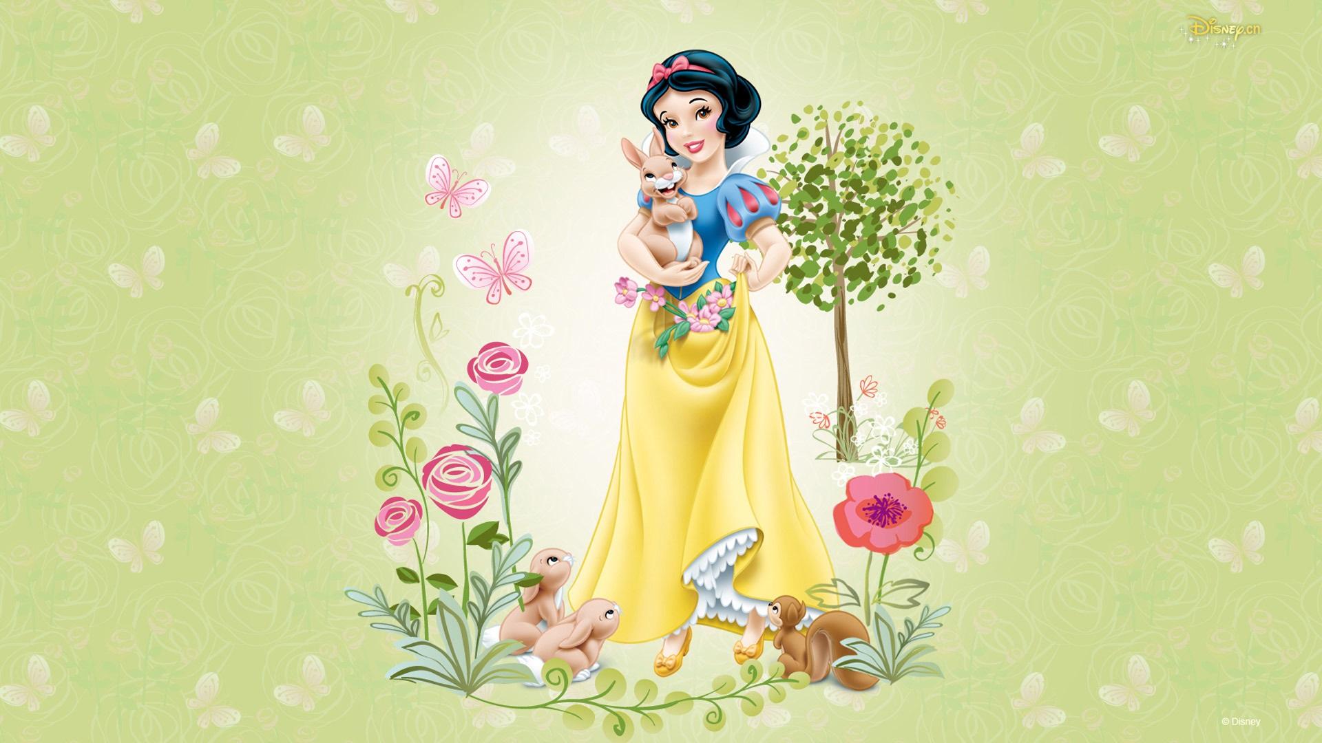 Snow White, tree, flowers