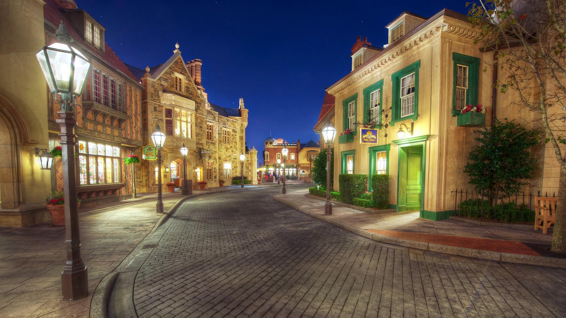Wallpaper Disneyland Sidewalk Street Night Lights