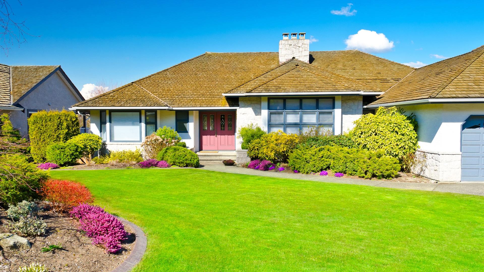 豪宅,房子,草坪,花园 壁纸