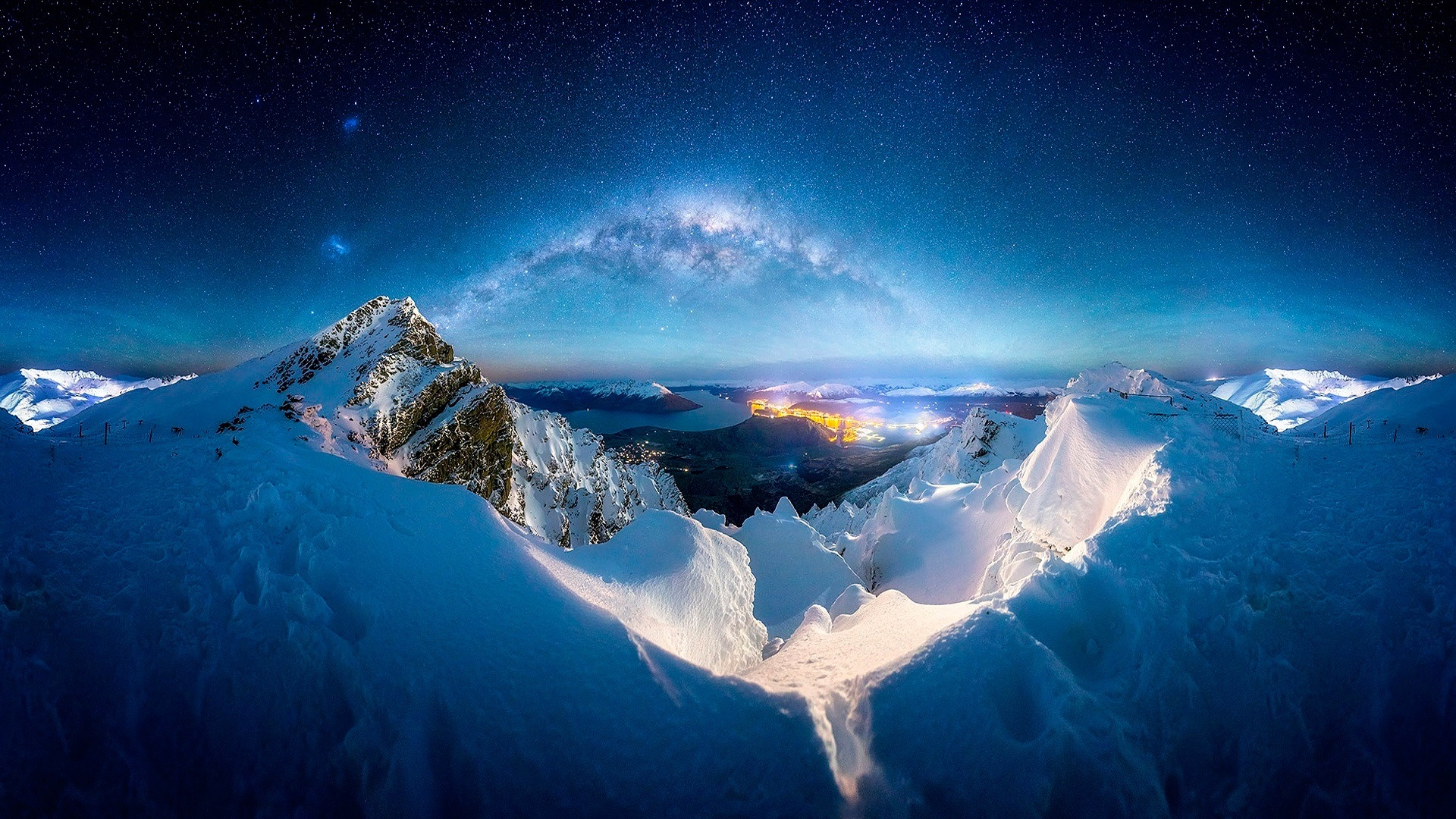 Winter Snow Mountains Night Milky Way Stars 640x960