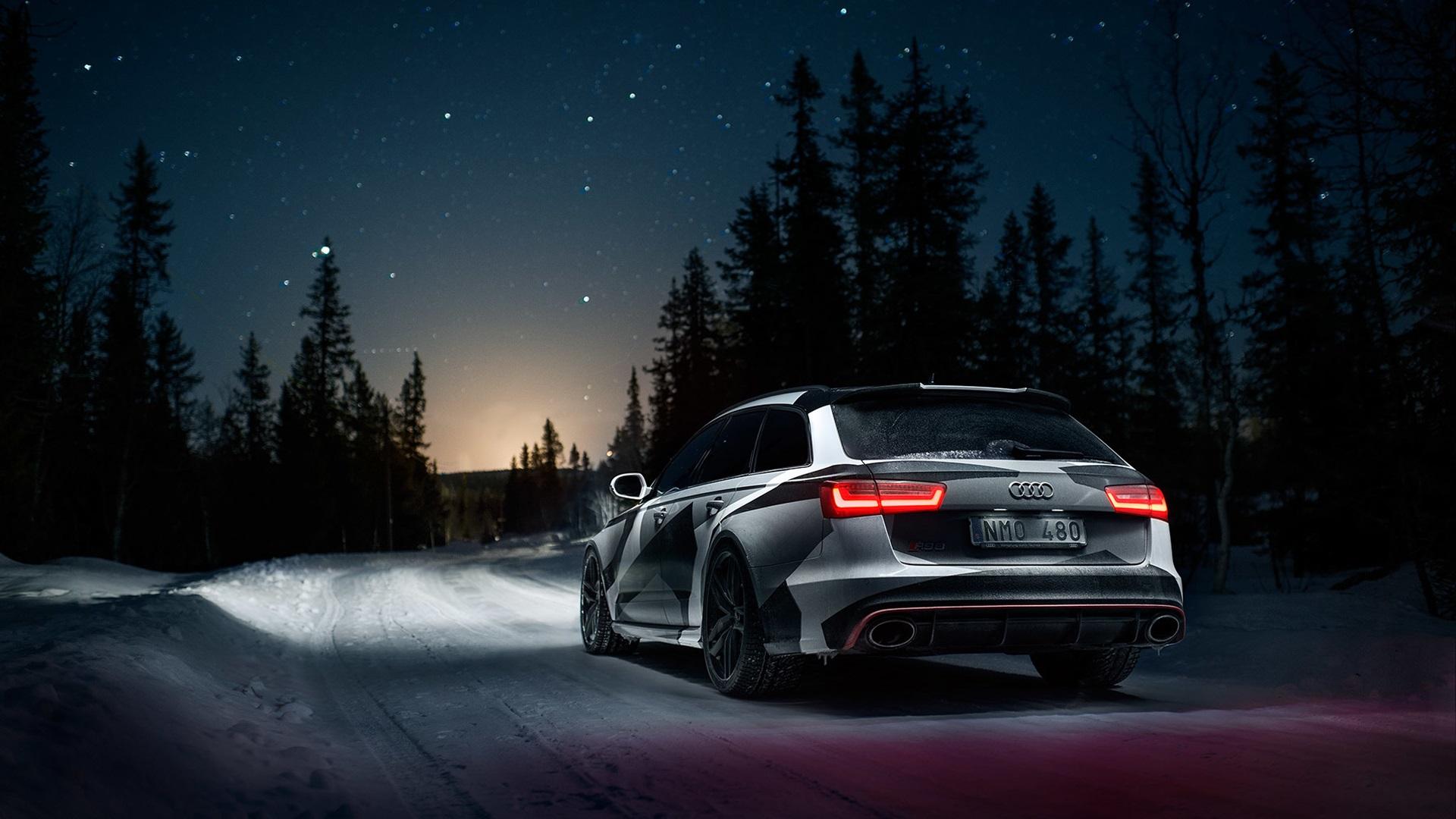 Fonds d'écran Audi RS6 voiture vue arrière, hiver, neige ...