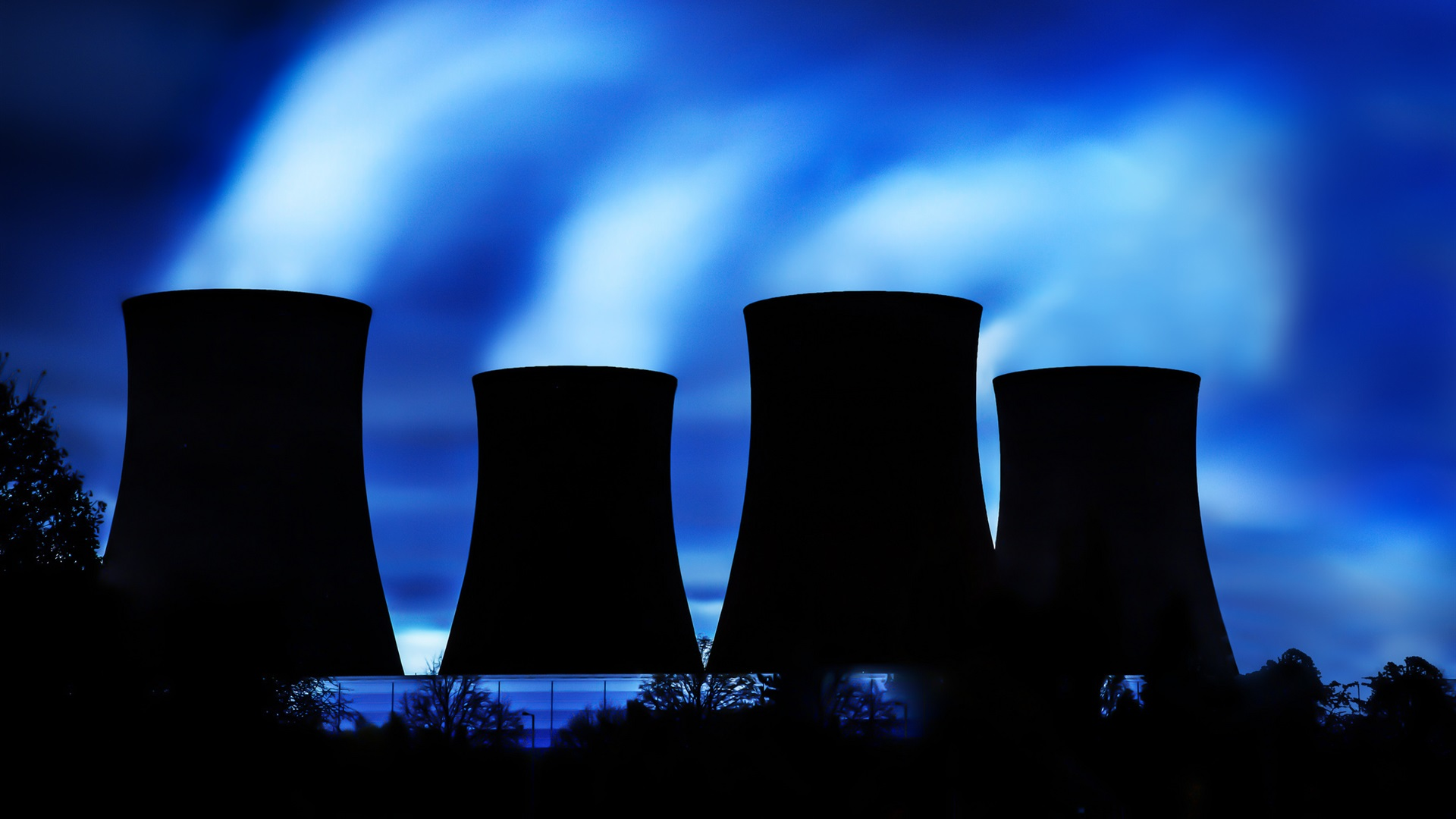 Thermal Power Plant Cooling Tower Silhouette Night