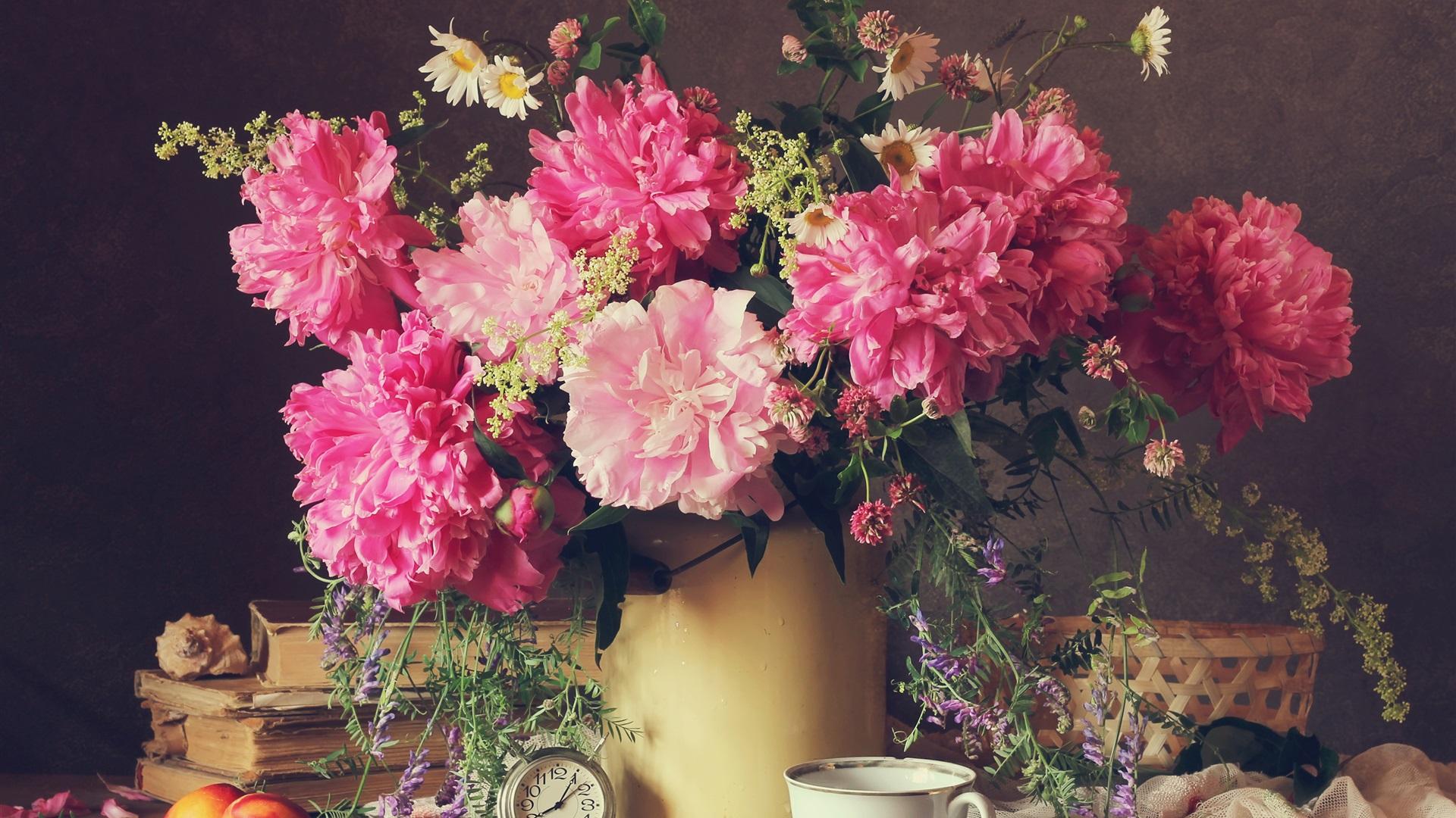 Fonds D 233 Cran Beau Pivoine Fleurs Rose P 233 Tales