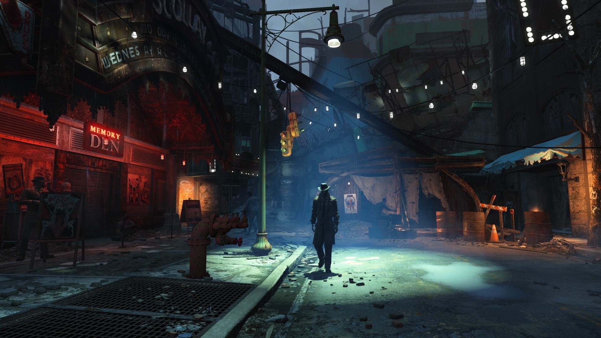 Wallpaper Fallout 4 Street City Night 1920x1080 Full Hd