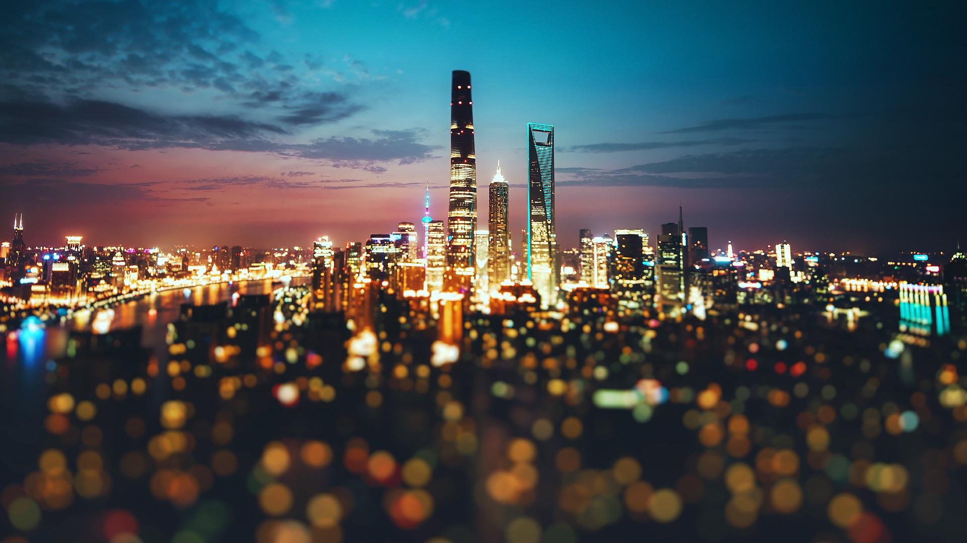 China, Ciudad, Shanghai, Noche, Luces, Borroso Fondos De