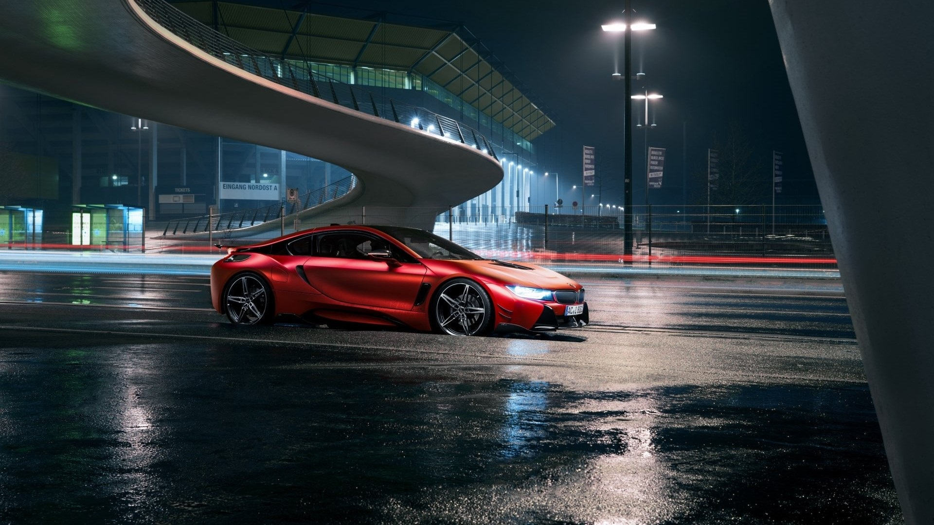 Wallpaper Red BMW Car At Night City Road 1920x1080 Full HD Picture