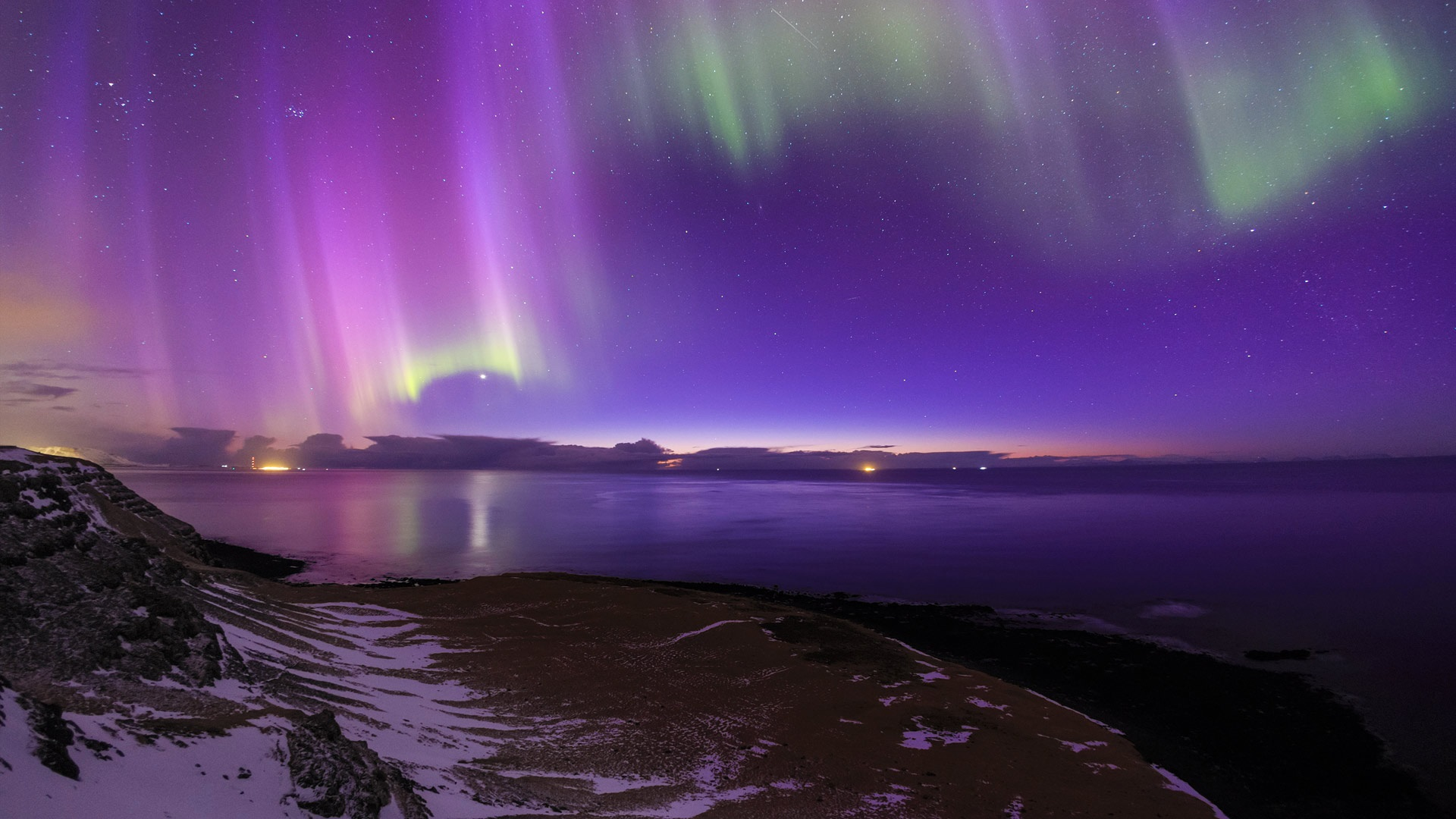Wallpaper Iceland Northern Lights Sea Coast Night
