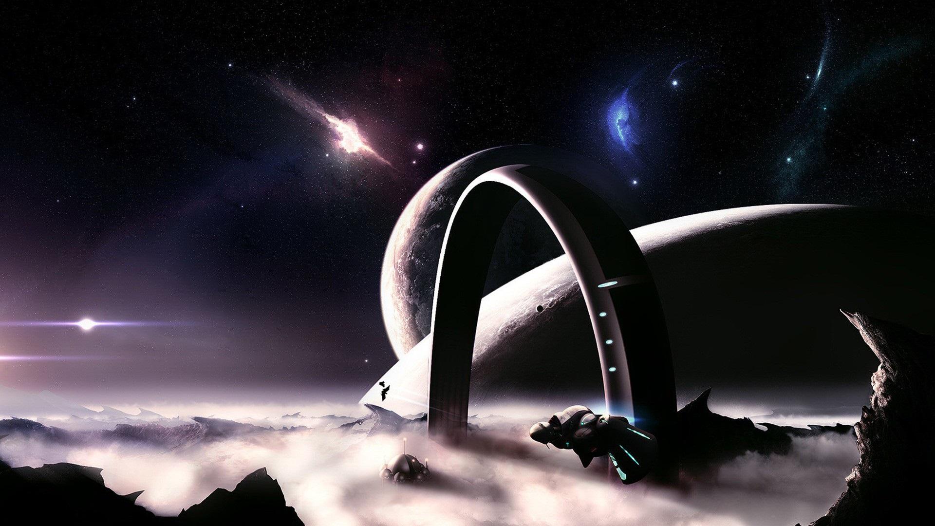 Fonds D Ecran Espace Planete Lune Vaisseau Spatial 1920x1080