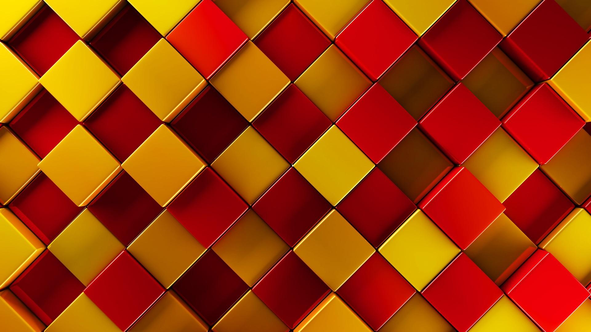 Fondo Fondos Abstractos Rojo Y Amarillo: Fondos De Pantalla 3D Cuadrados, Rojo, Amarillo, Marrón