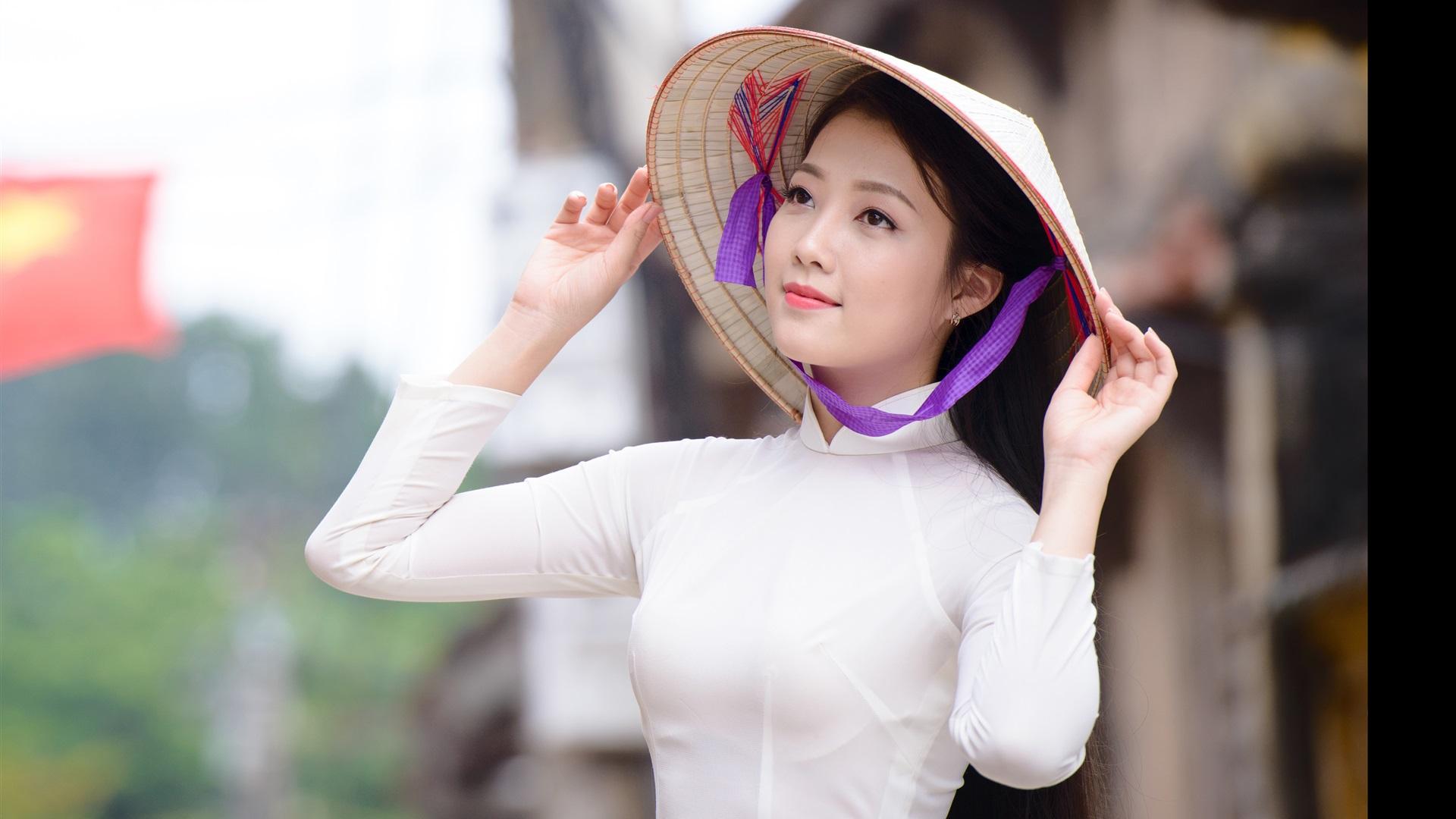 Wallpaper asian girl hat white dress 3840x2160 uhd 4k - Asian girl 4k ...