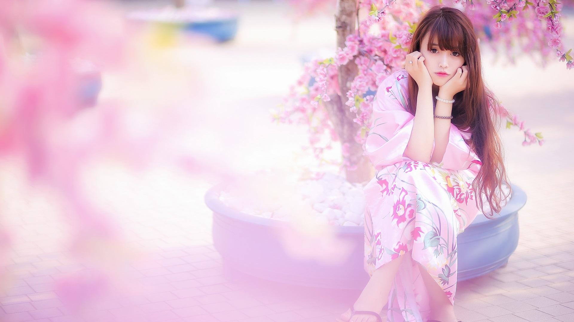 배경 화면 아름다운 일본 여자, 기모노, 핑크 사쿠라, 봄 1920x1200 HD 그림, 이미지