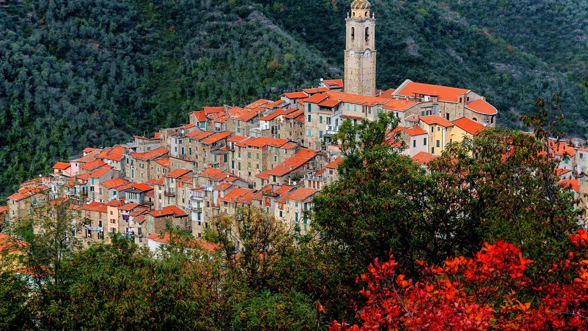 Castel Vittorio Italy Liguria Mountains Houses Tower
