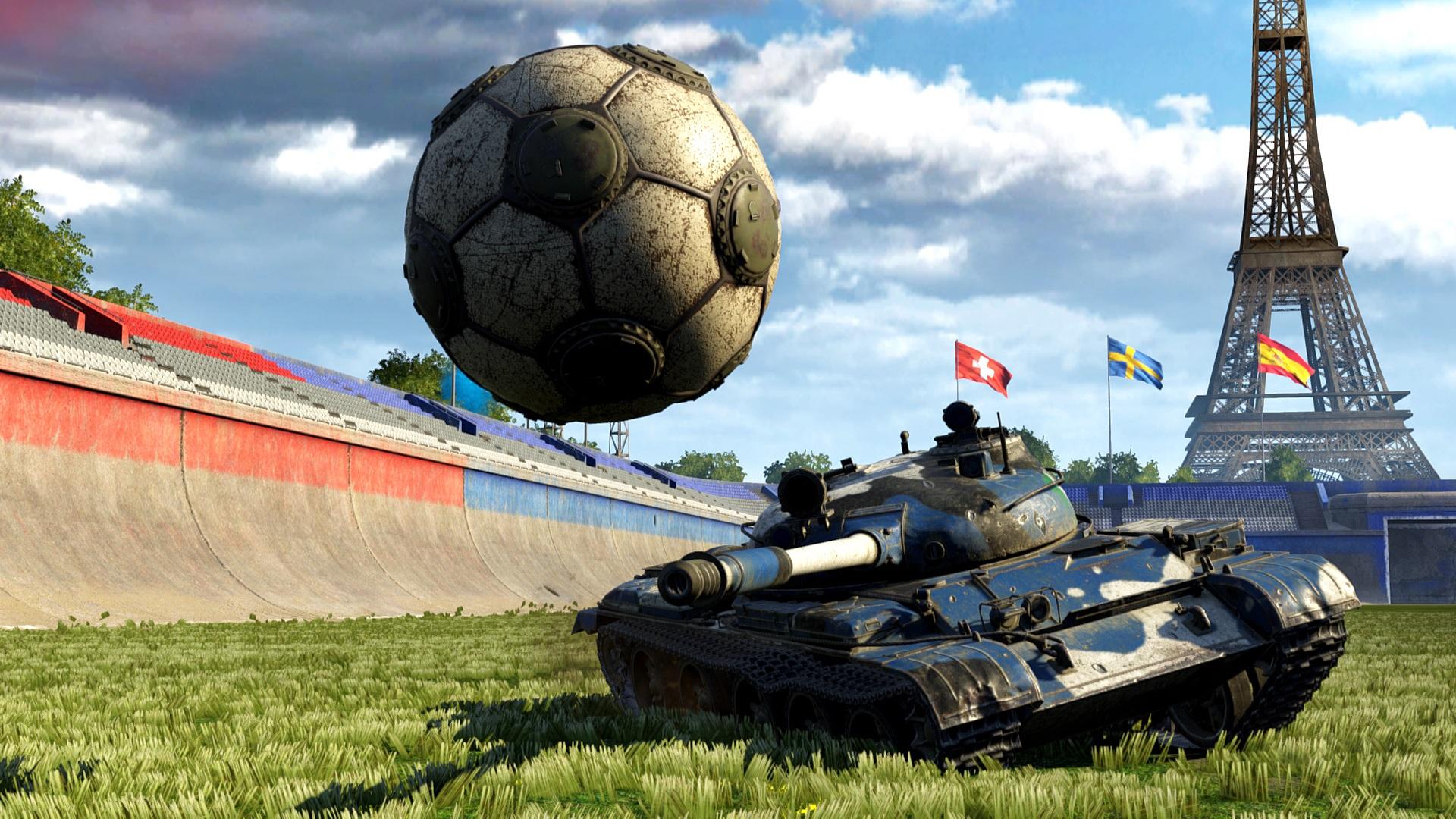 Kreatives Bild Fussball Panzer Gras Eiffelturm 1920x1080
