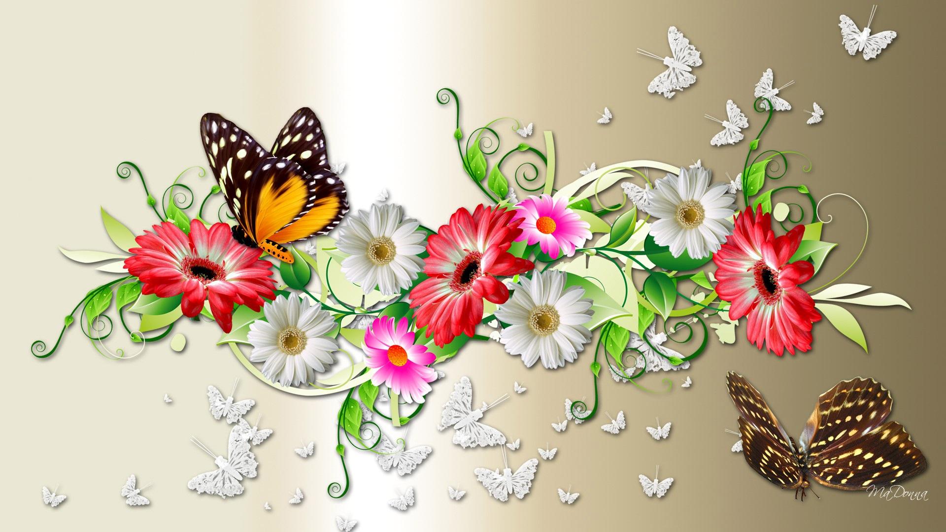 Открытка с красивыми цветами и с бабочкой
