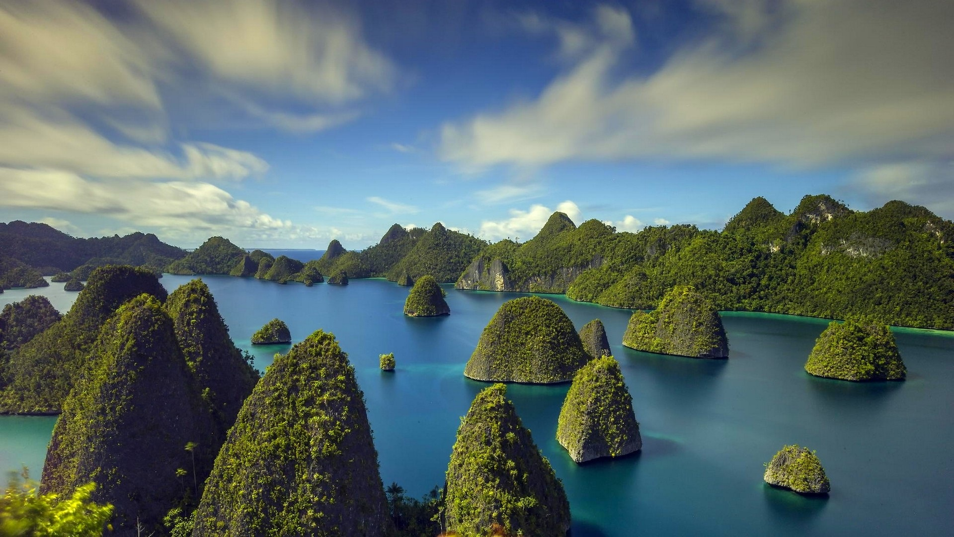 Indonesia, islands, tropical, sea, trees, clouds Wallpaper ...