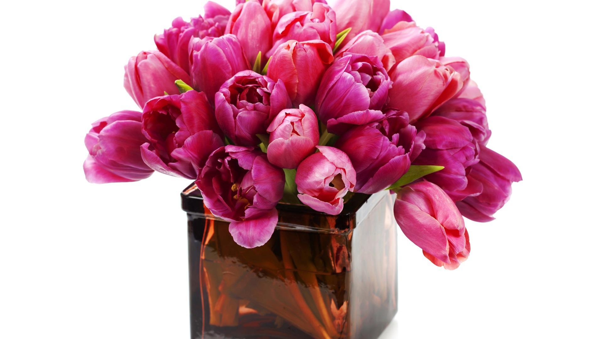 Pink tulips, vase Wallpaper | 1920x1080 Full HD resolution ... Hd Wallpaper 1920x1080 Free Download