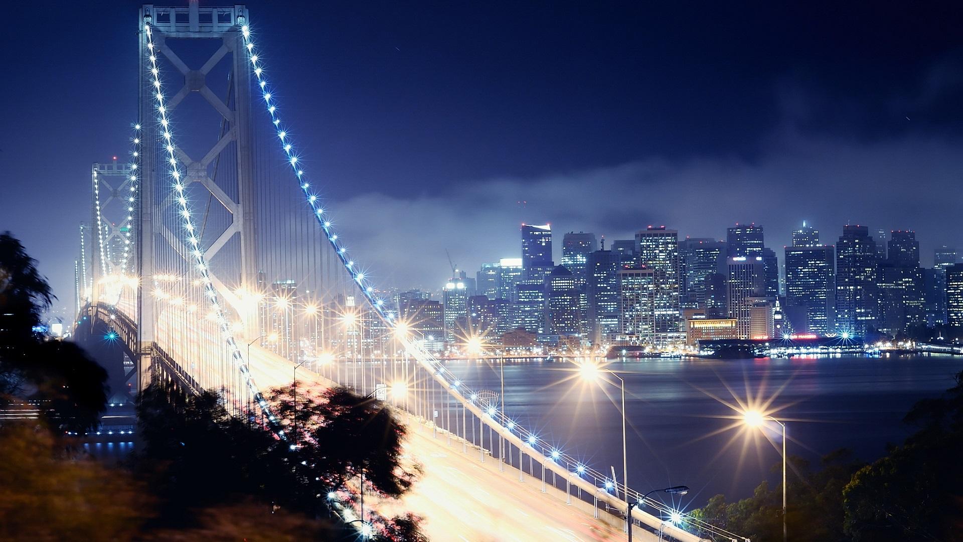 мост освещение город ночь смотреть