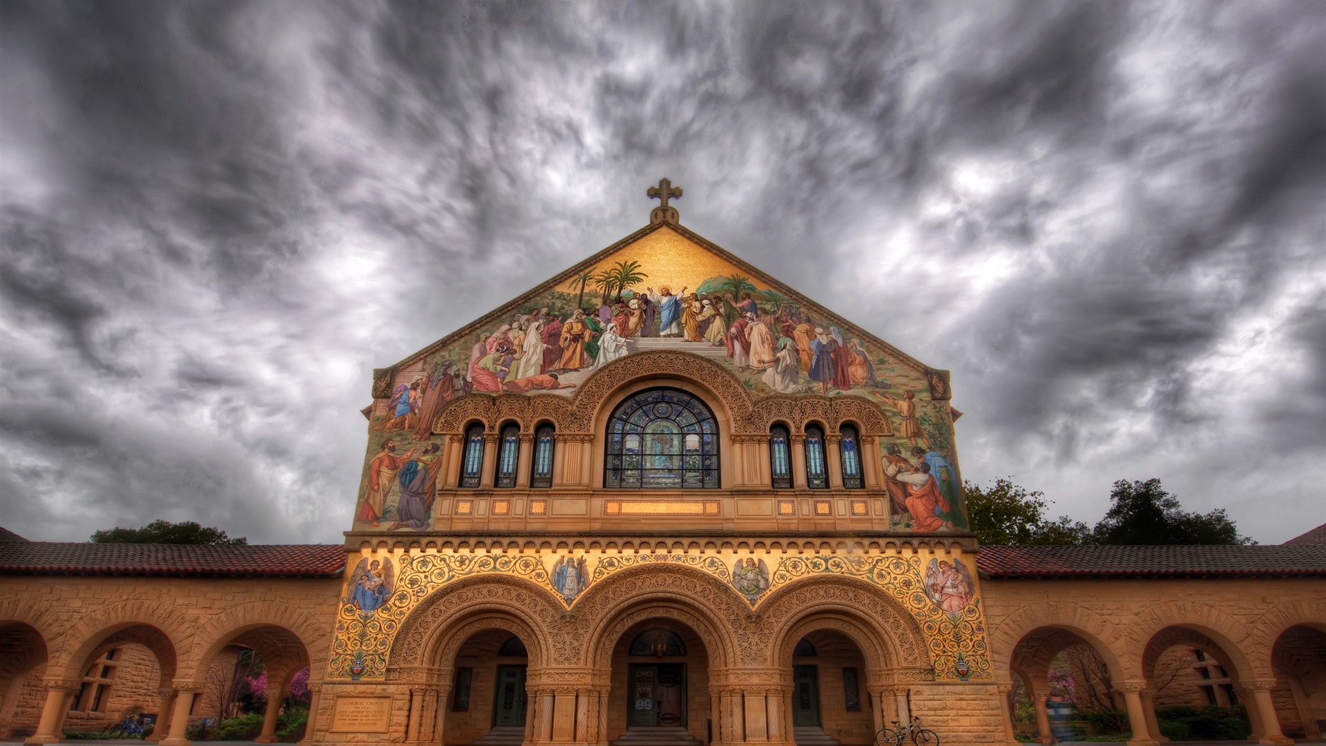 Stanford church painting mural street clouds wallpaper for Church mural painting