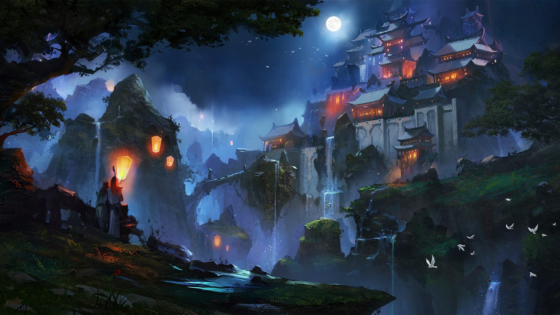 Wallpaper Chinese Landscape Houses Moon Night Mountains