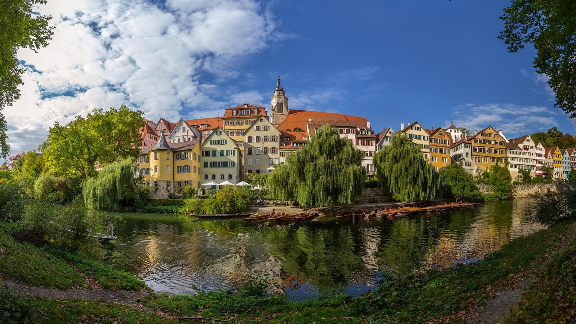 Wallpaper Germany, Baden-Wurttemberg, River, Boats, Trees