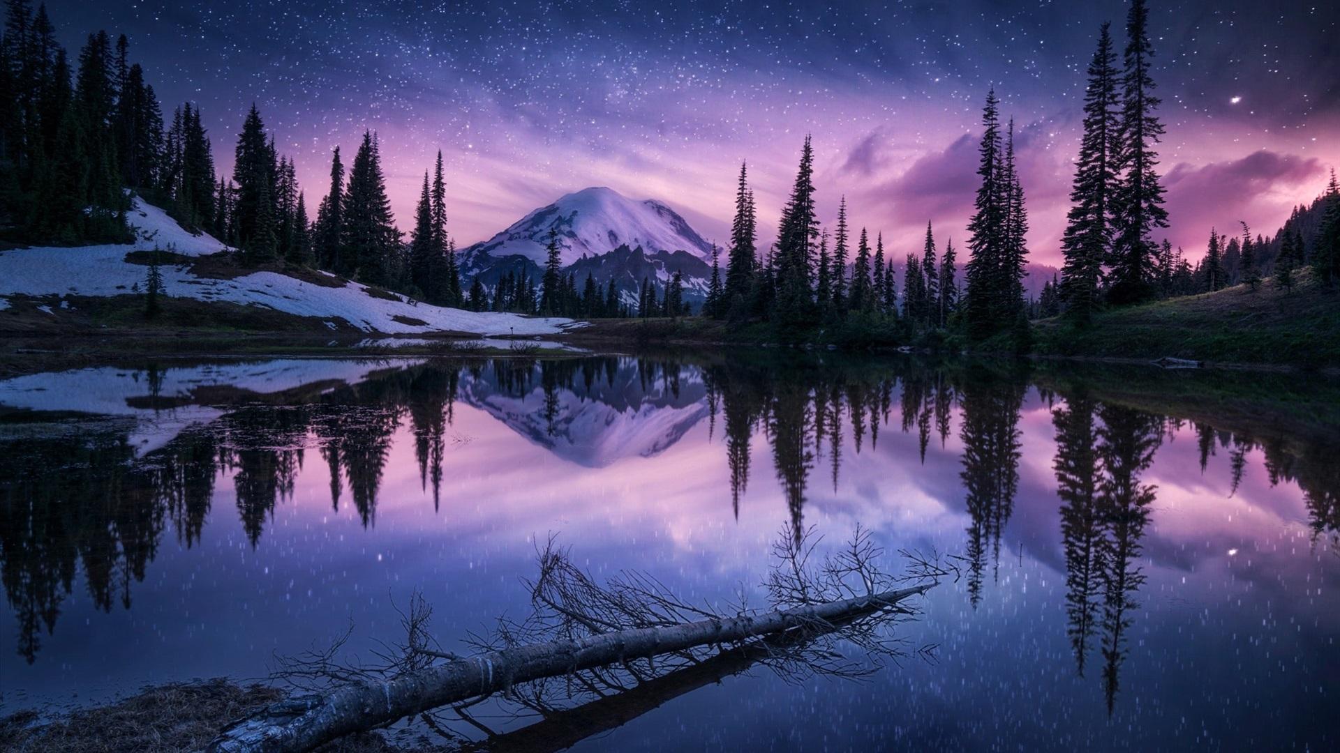 Lago Con Montañas Nevadas Hd: Invierno, Lago, árboles, Montañas, Nieve, Cielo