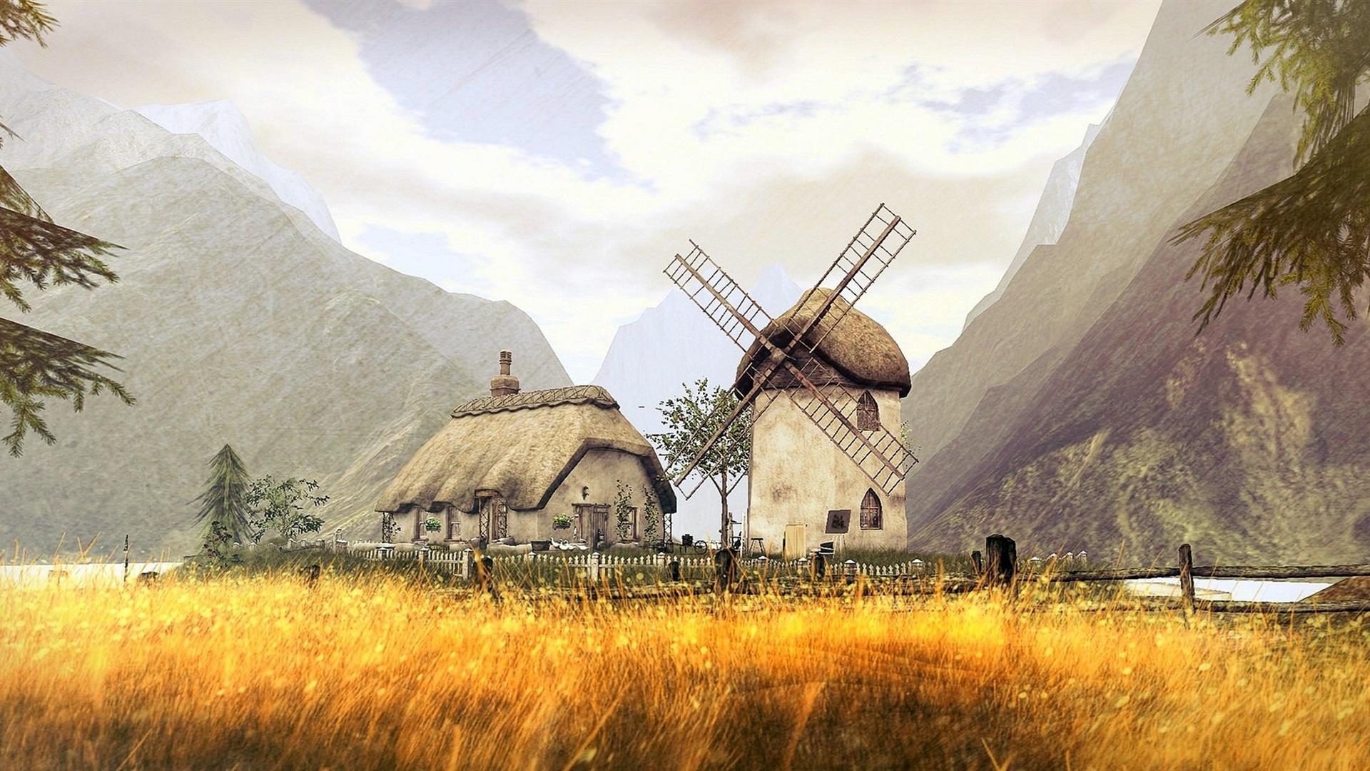 Fonds d 39 cran conception 3d champ montagne moulin for Conception 3d maison