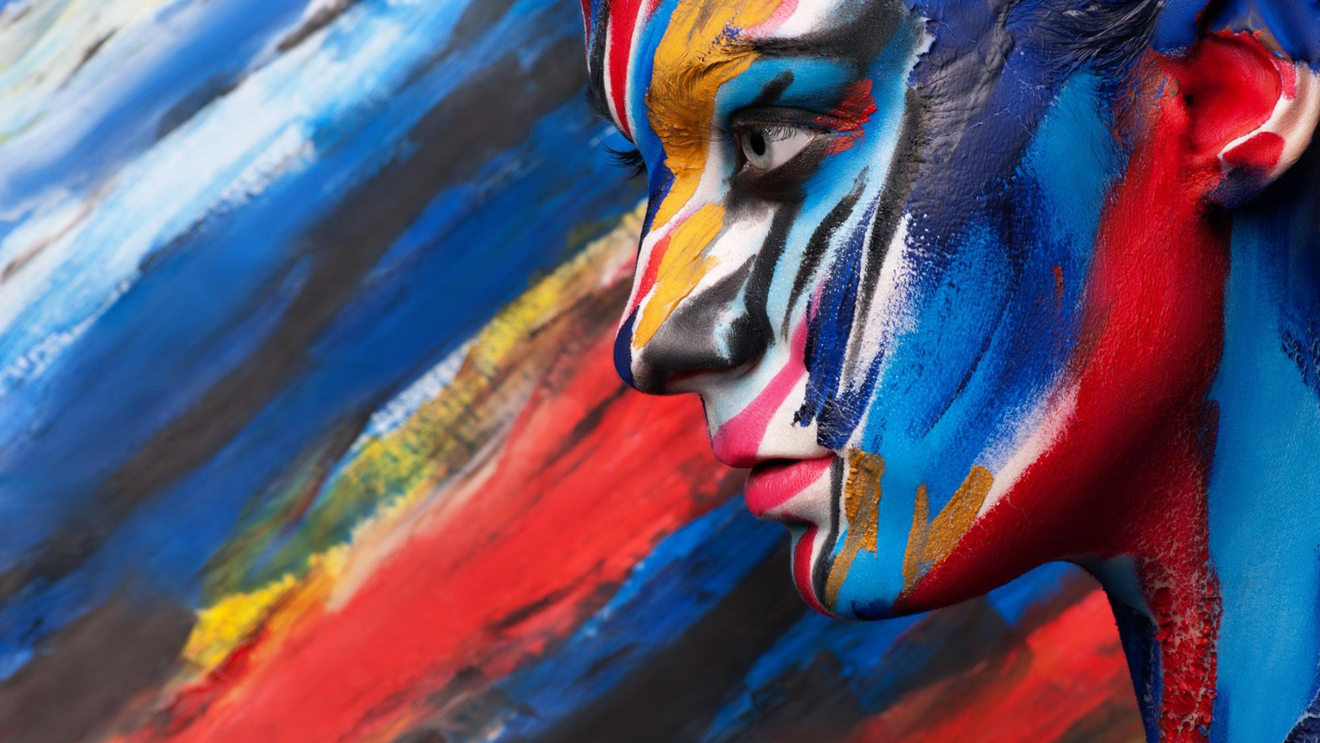 Wallpaper Body art paint, colorful, face side view ...