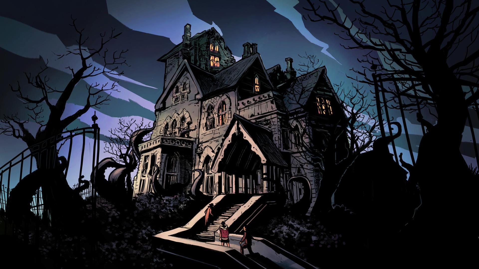 Papeis De Parede Noite Sombria Horror Casa Arvores Escada