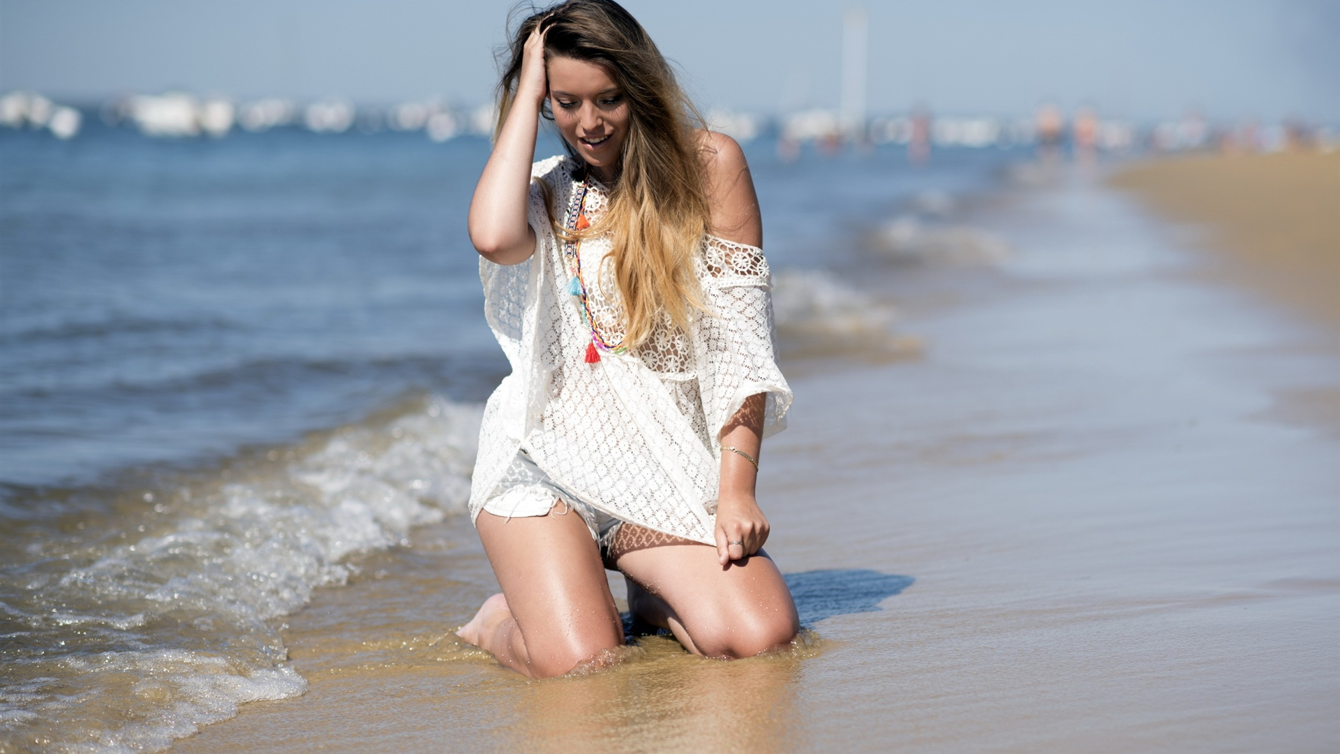 Wallpaper Summer Sea Beach Girl 2560x1600 Hd Picture Image