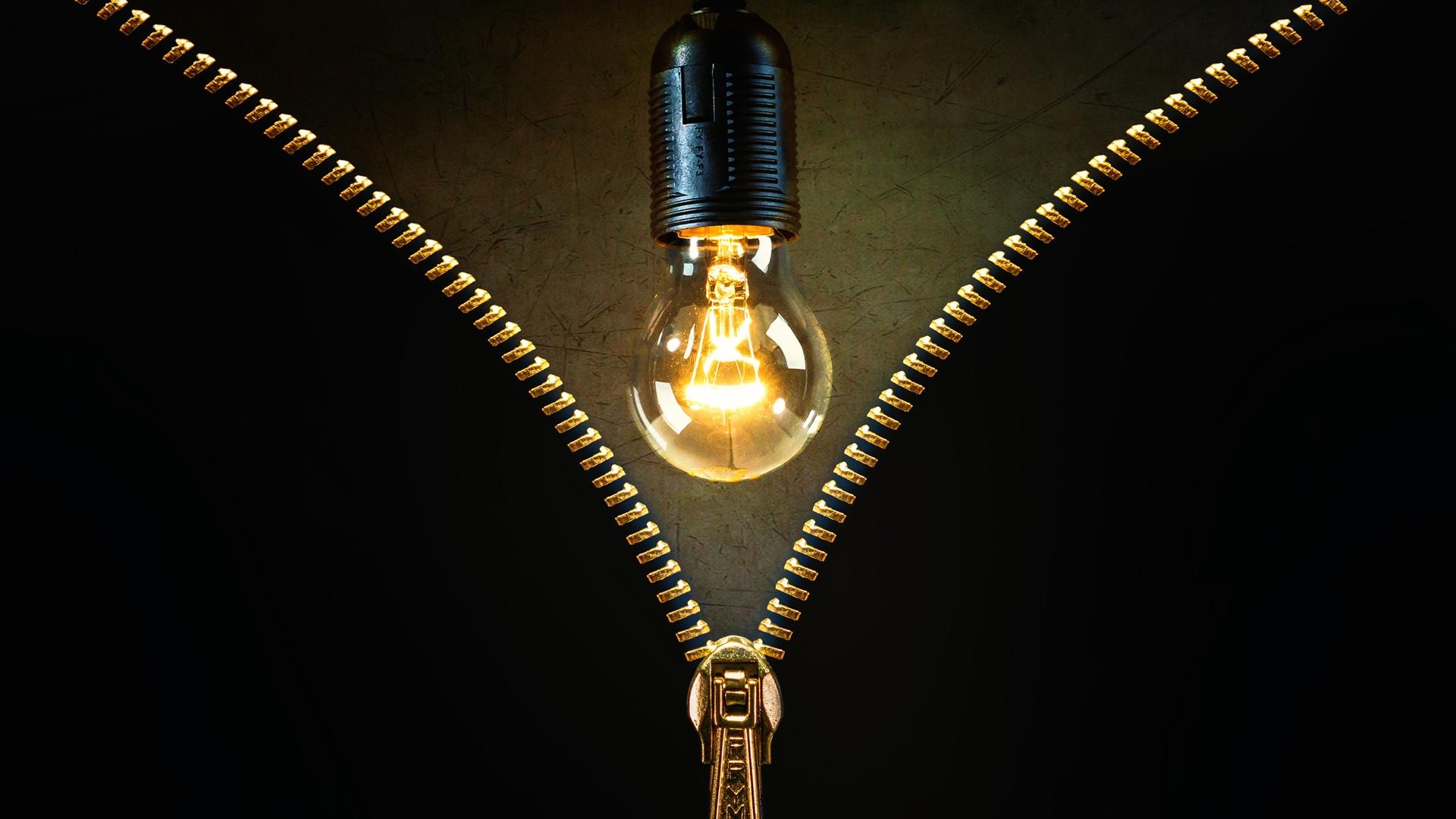 Light bulb, zipper, creative 750x1334