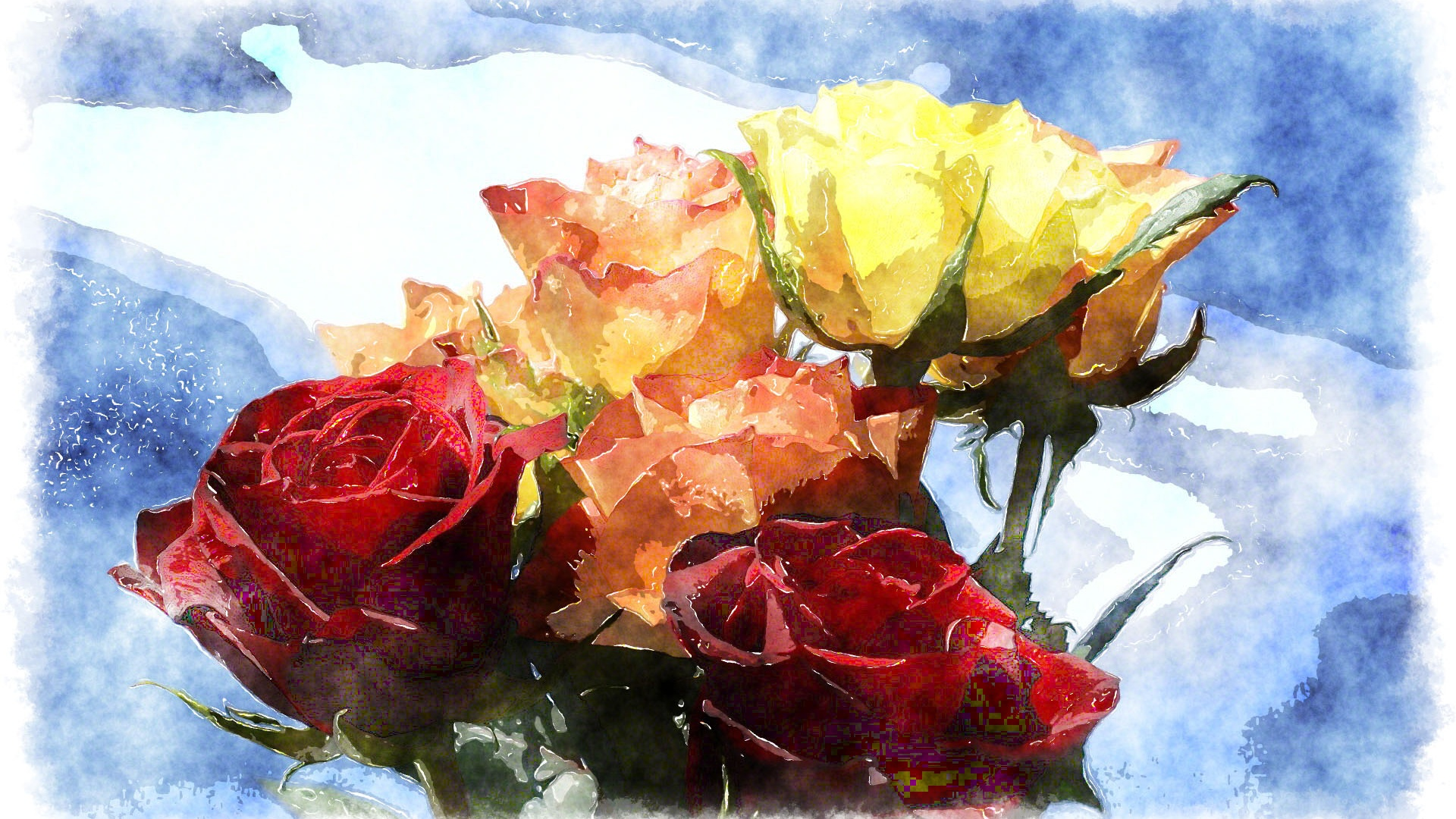 Download wallpaper 1920x1080 one bouquet roses different for Different color roses bouquet