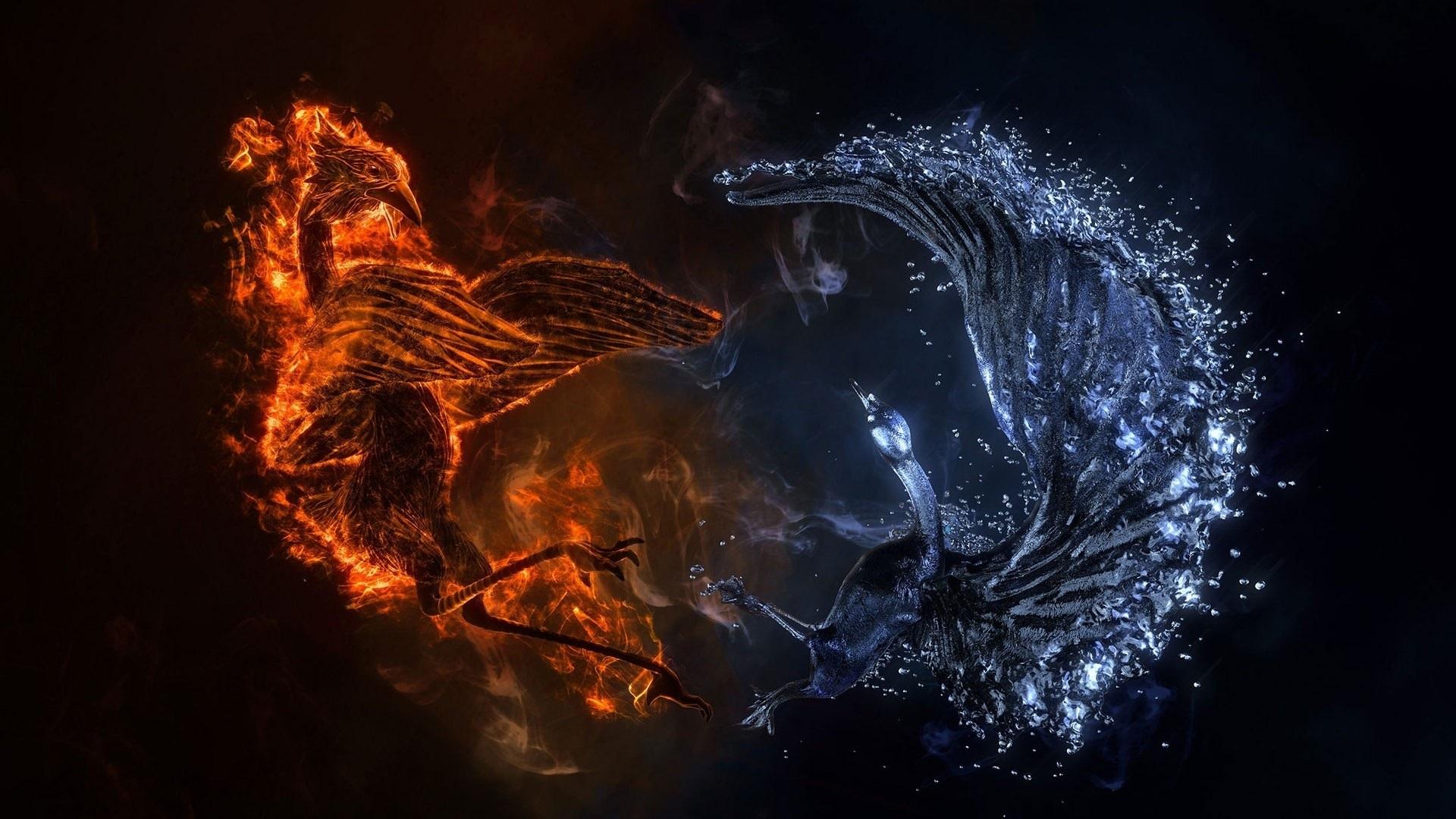 Fonds d'écran Phoenix et cygne, feu et eau, design créatif 1920x1080 Full HD image