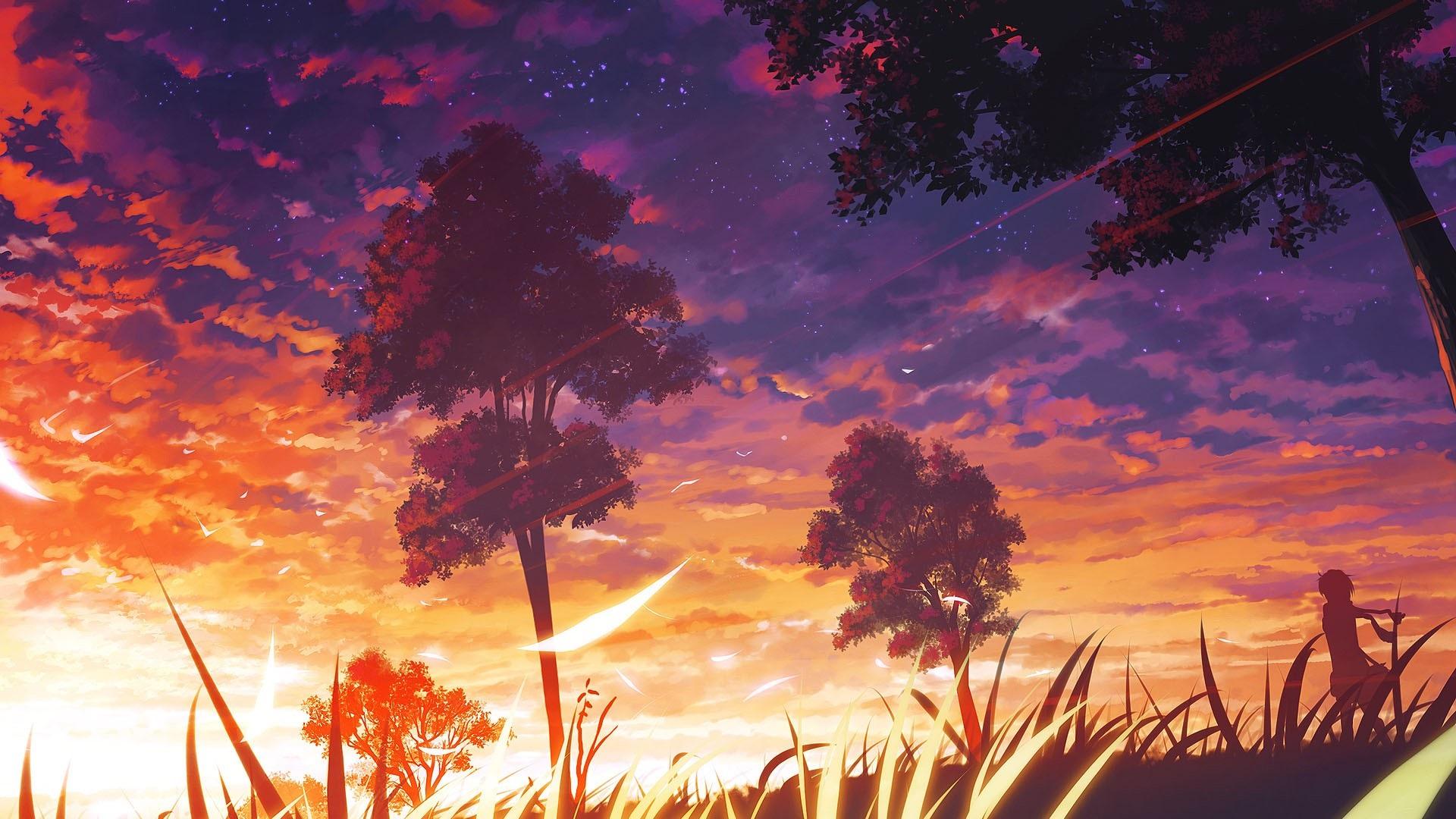 壁紙 アニメ 木々 夕日 雲 自然の風景 1920x1080 Full Hd 2k 無料