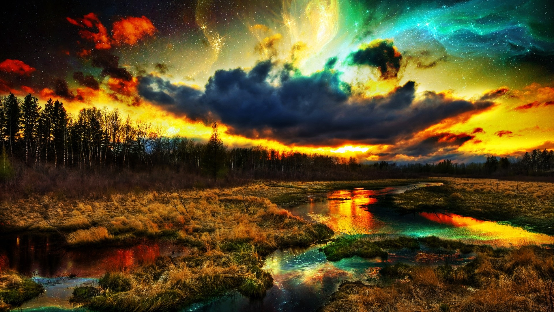 Favoritos Paisagem natural bonita, grama, árvores, rio, nuvens, colorido  EB47