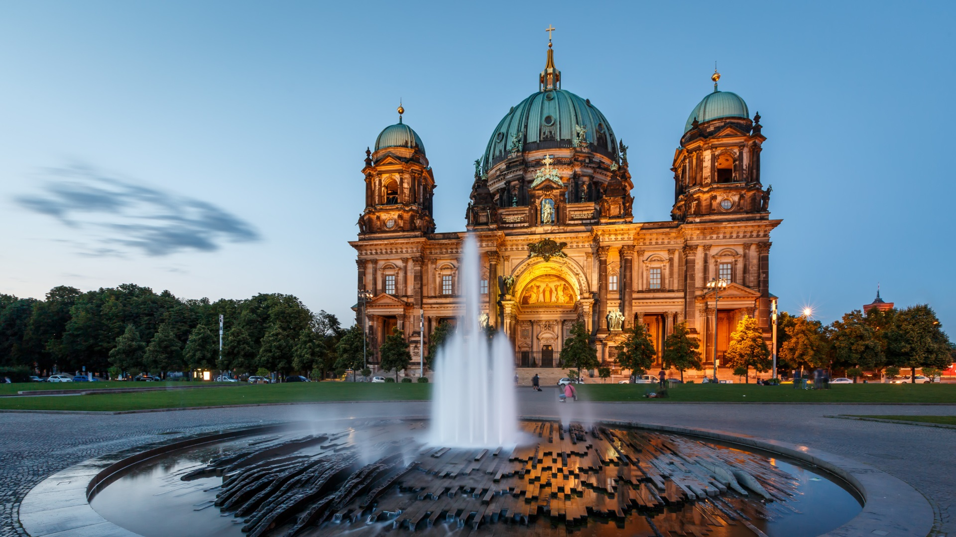 wallpaper berlin cathedral architecture germany night fountain